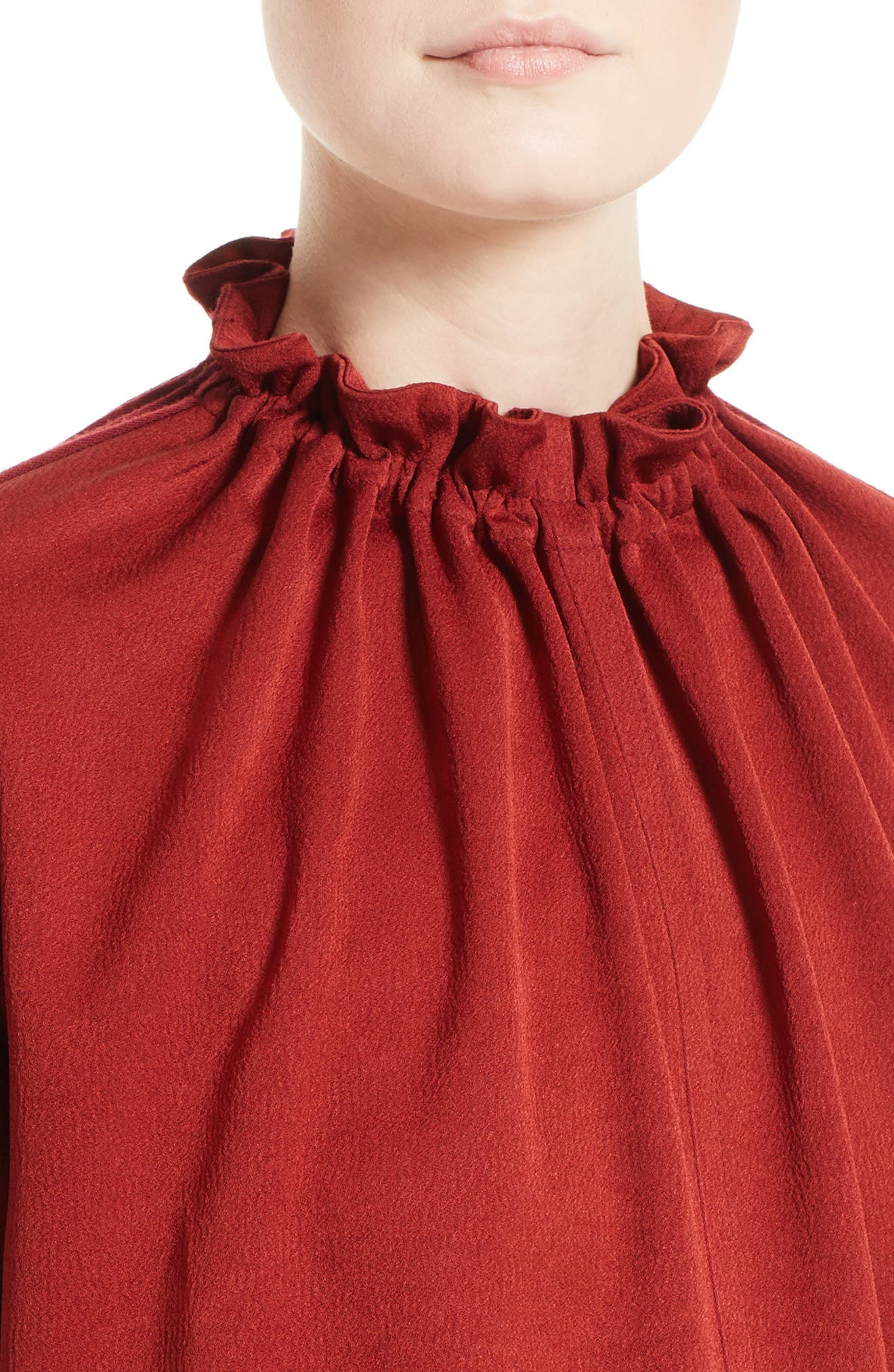 Crepe Gathered Neck Top,                             Alternate thumbnail 4, color,