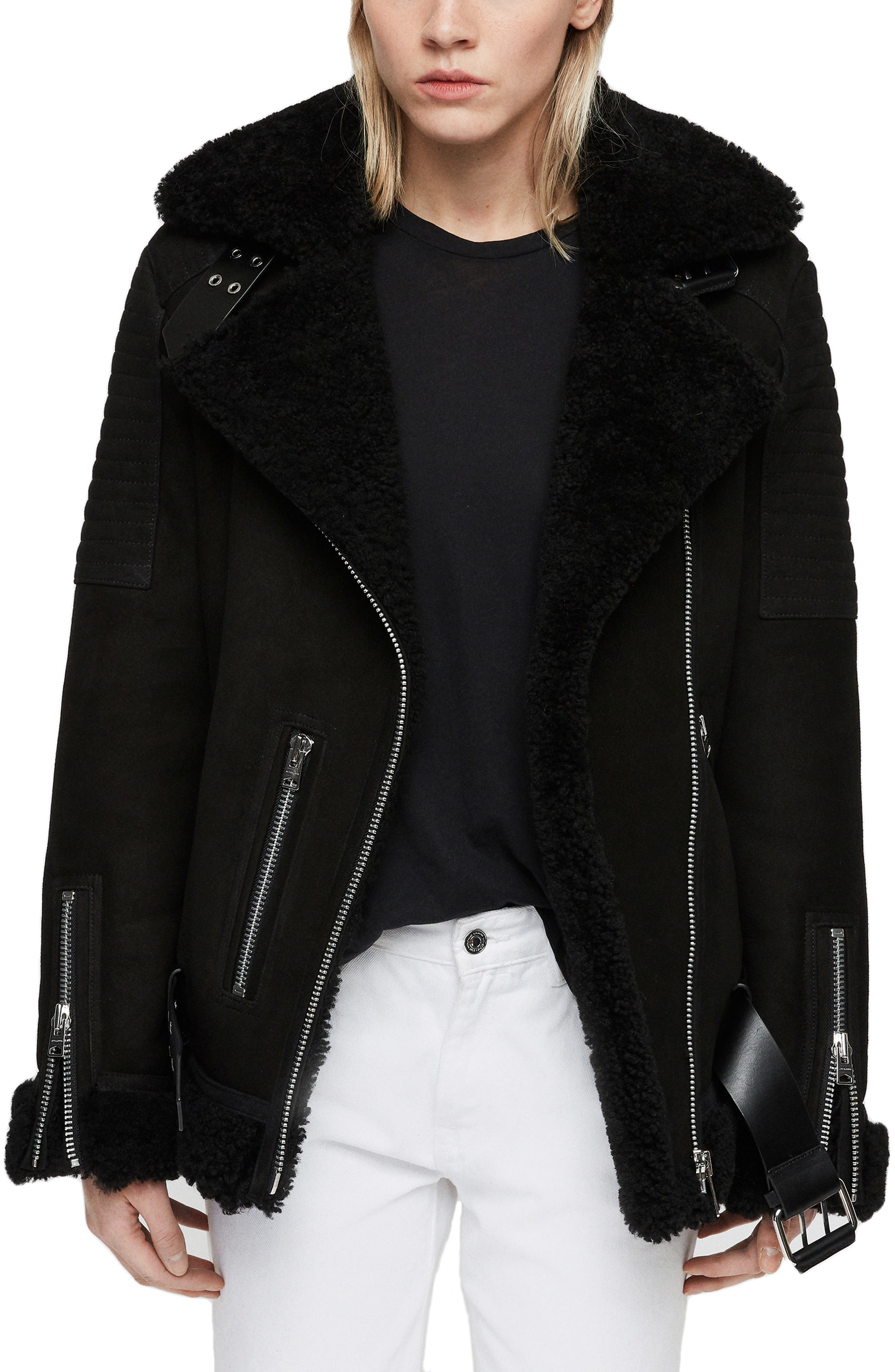 Allsaints Garrix Genuine Shearling Jacket, Black