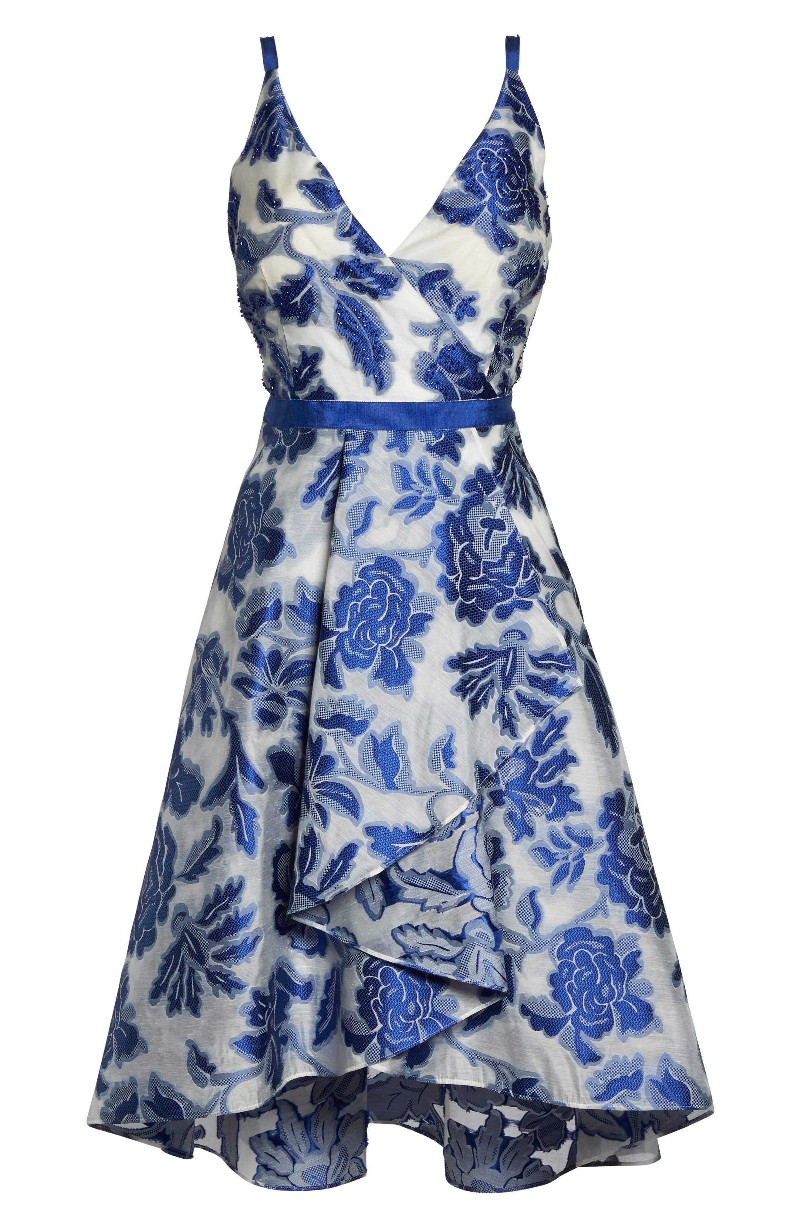 Burnout Jacquard Fit & Flare Dress,                             Alternate thumbnail 6, color,                             480