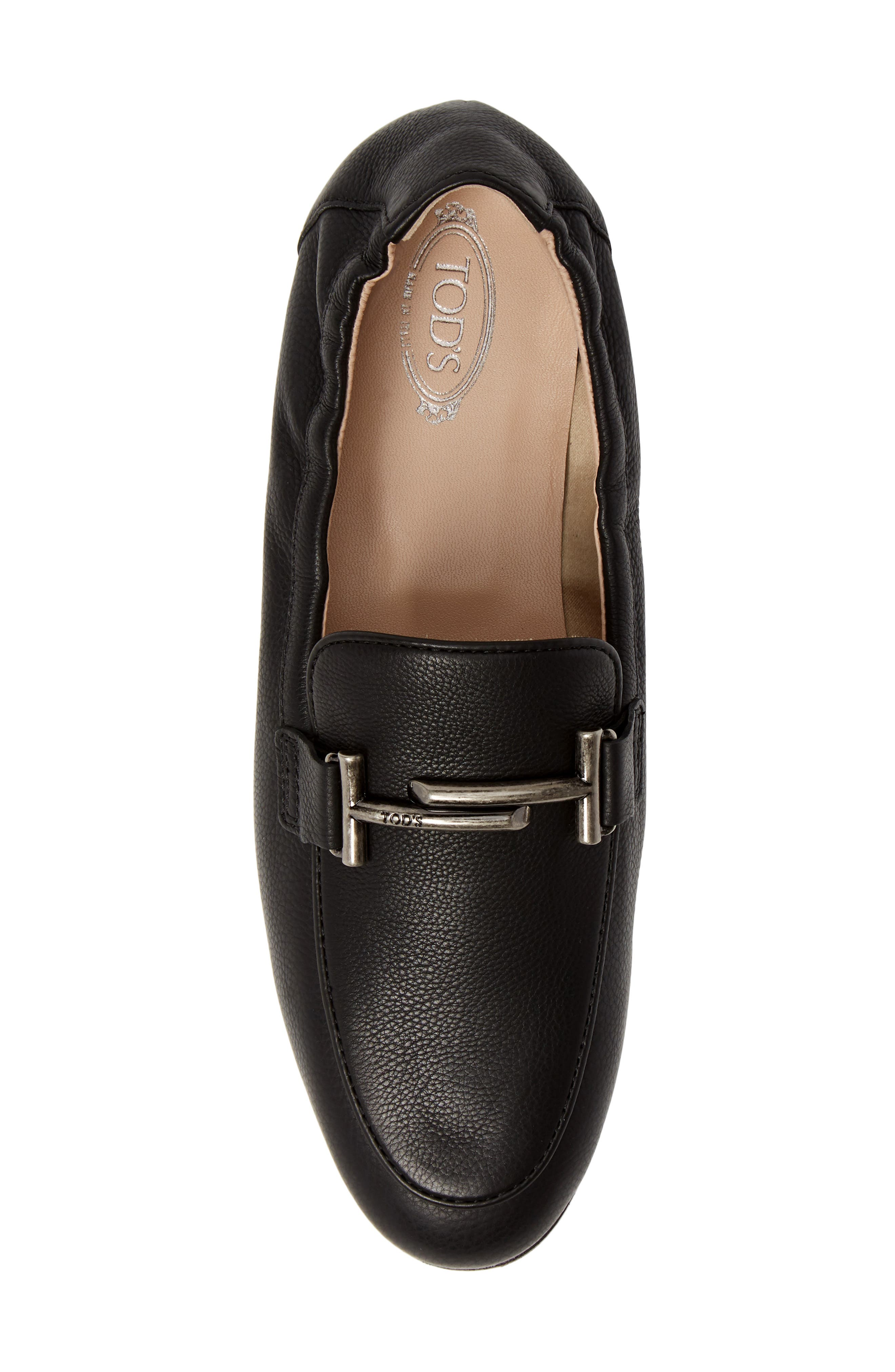 Double T Loafer,                             Alternate thumbnail 5, color,                             BLACK LEATHER
