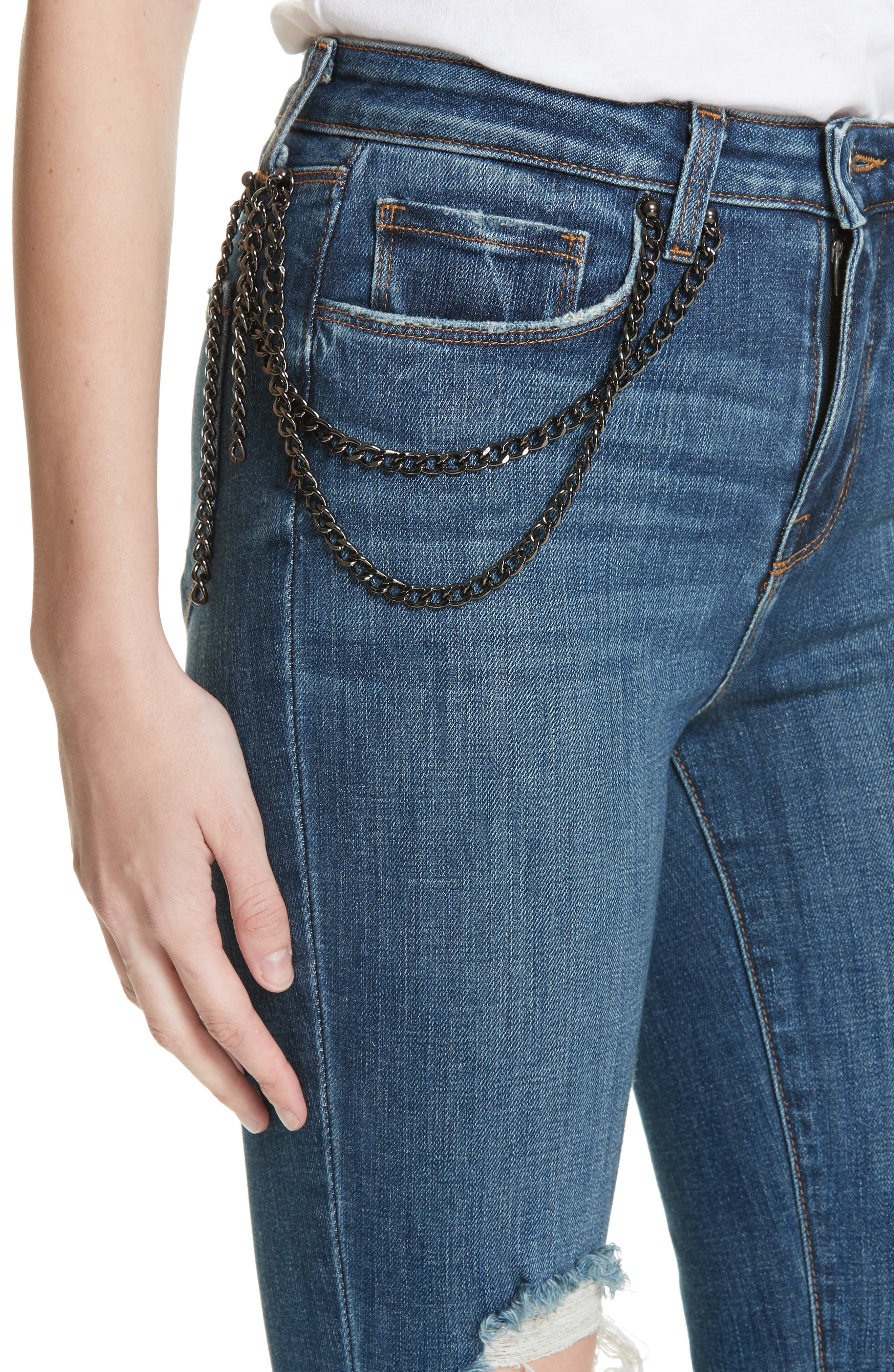 Luna Chain Detail Ripped Skinny Jeans,                             Alternate thumbnail 4, color,                             401