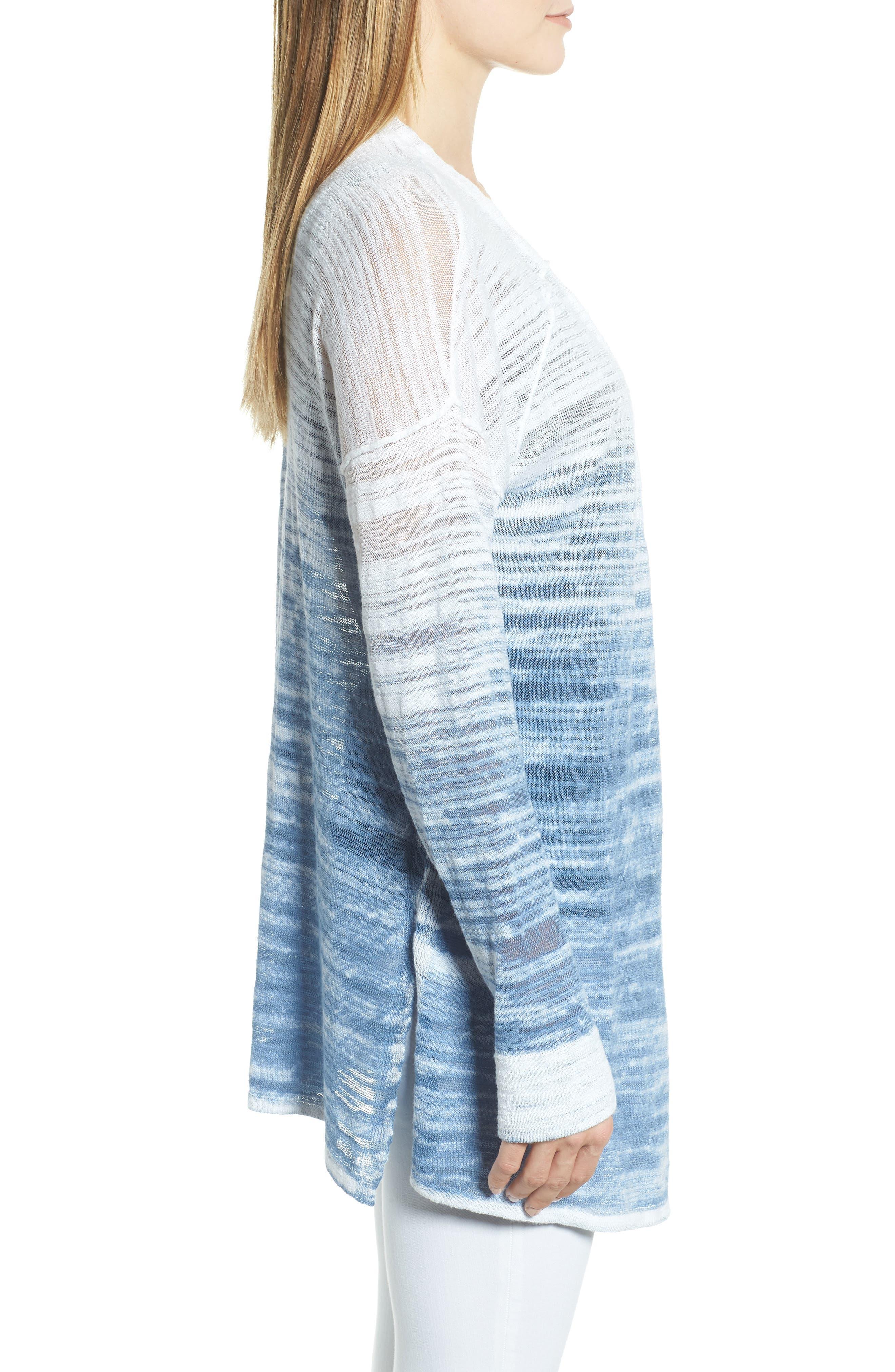 Open Breeze Linen Cotton Ombré Cardigan,                             Alternate thumbnail 3, color,                             413