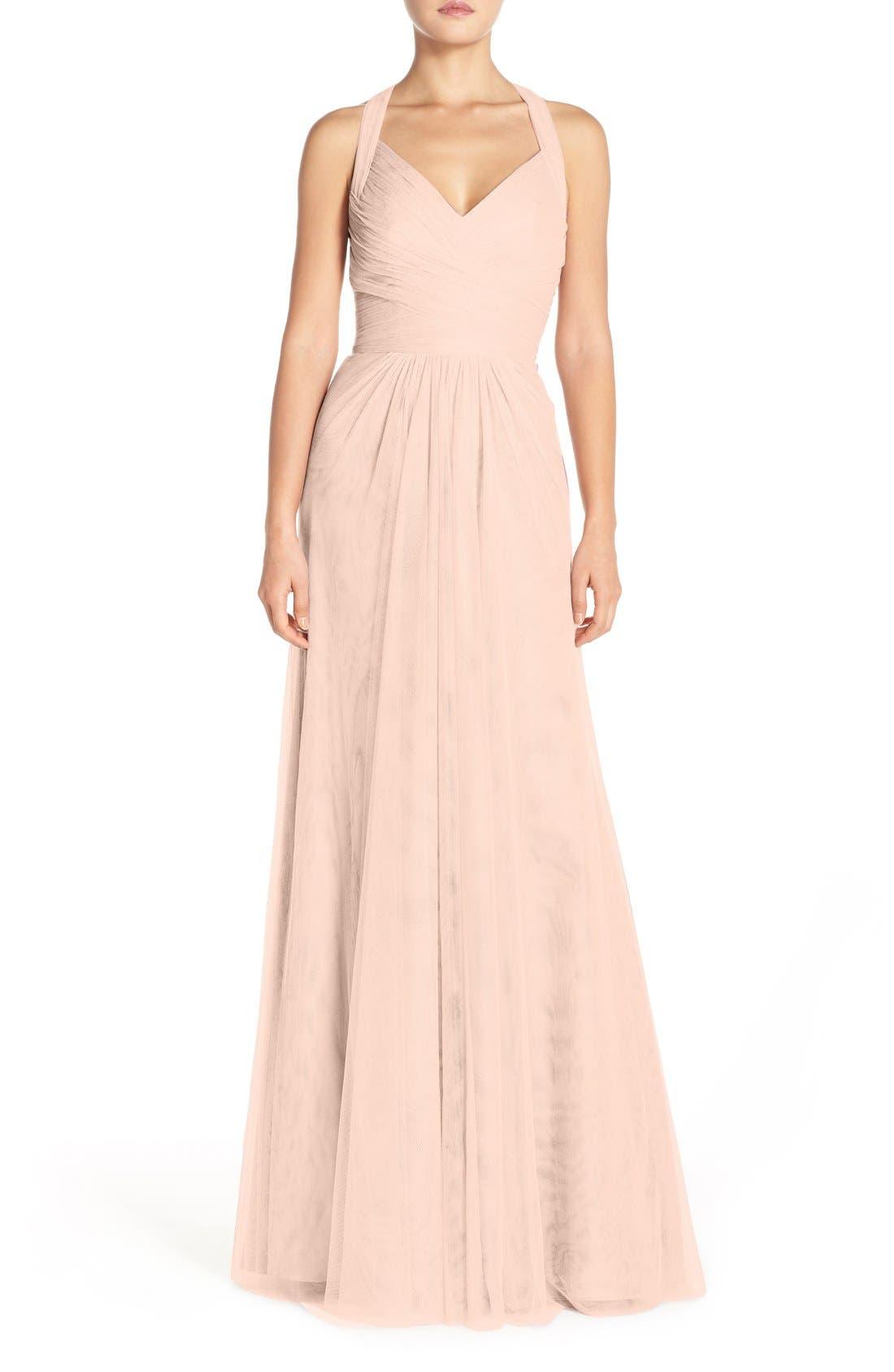Sleeveless V-Neck Tulle Gown,                             Main thumbnail 1, color,                             697