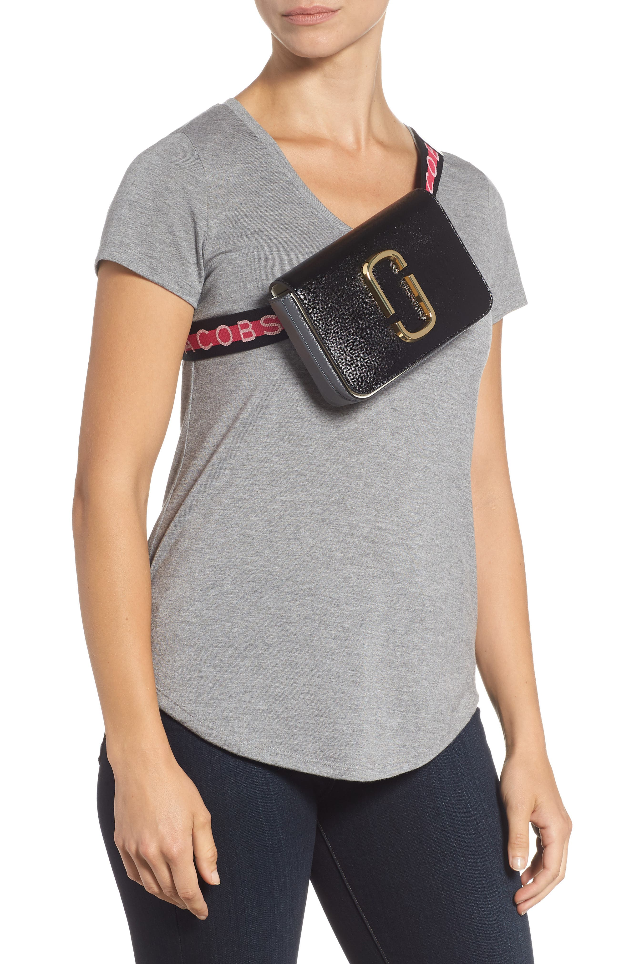 Hip Shot Convertible Leather Belt Bag,                             Alternate thumbnail 4, color,                             BLACK MULTI