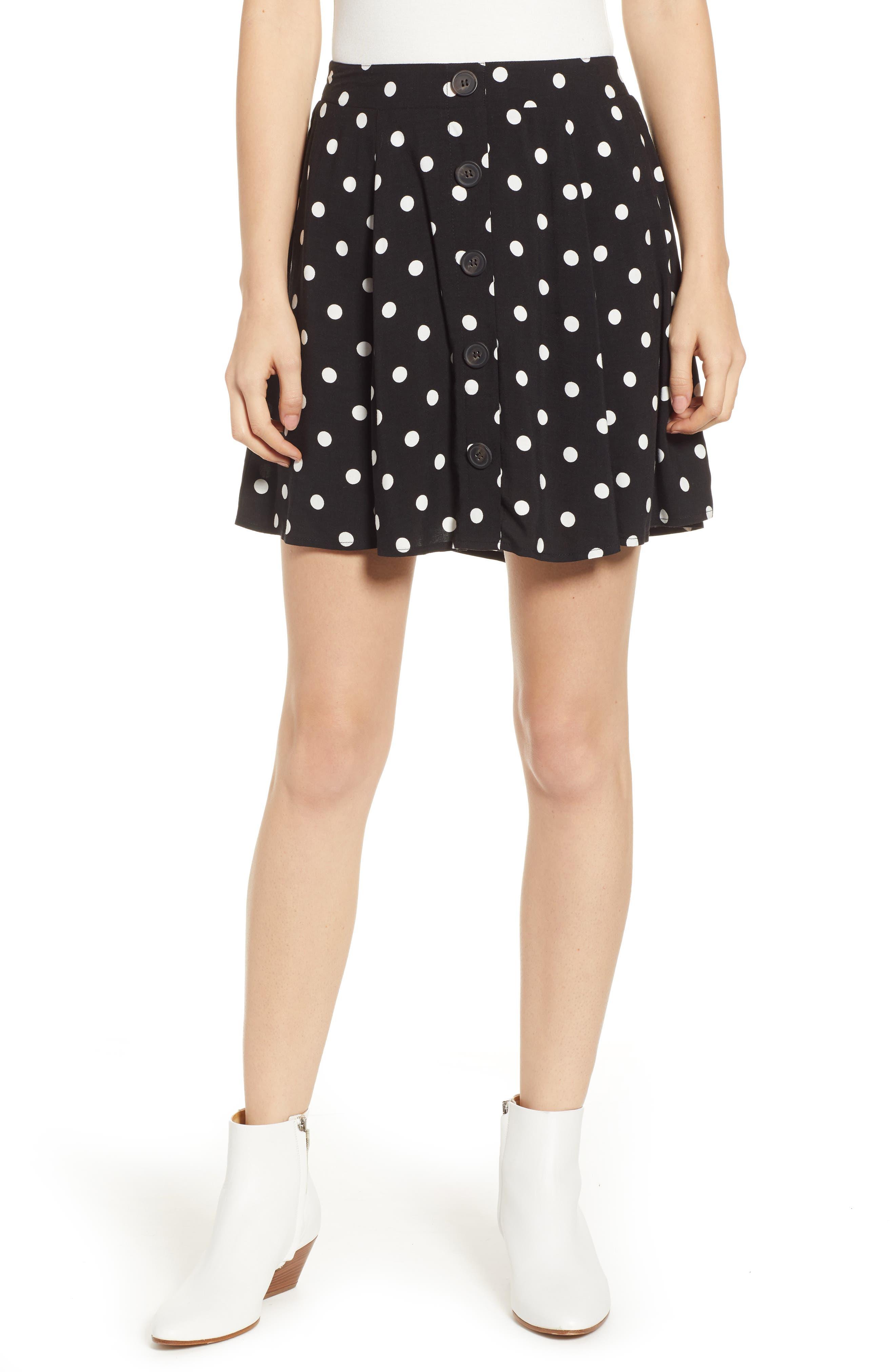 Button Front Skirt,                             Main thumbnail 1, color,                             BLACK DOT