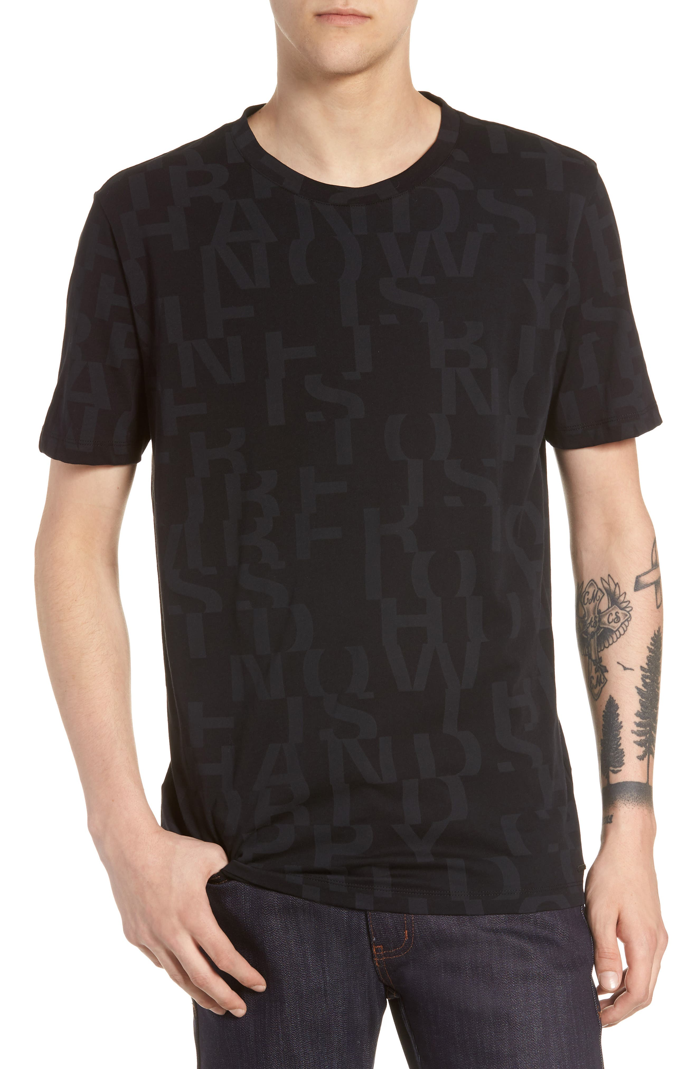 Dyrics Letter Graphic T-Shirt,                             Main thumbnail 1, color,                             BLACK