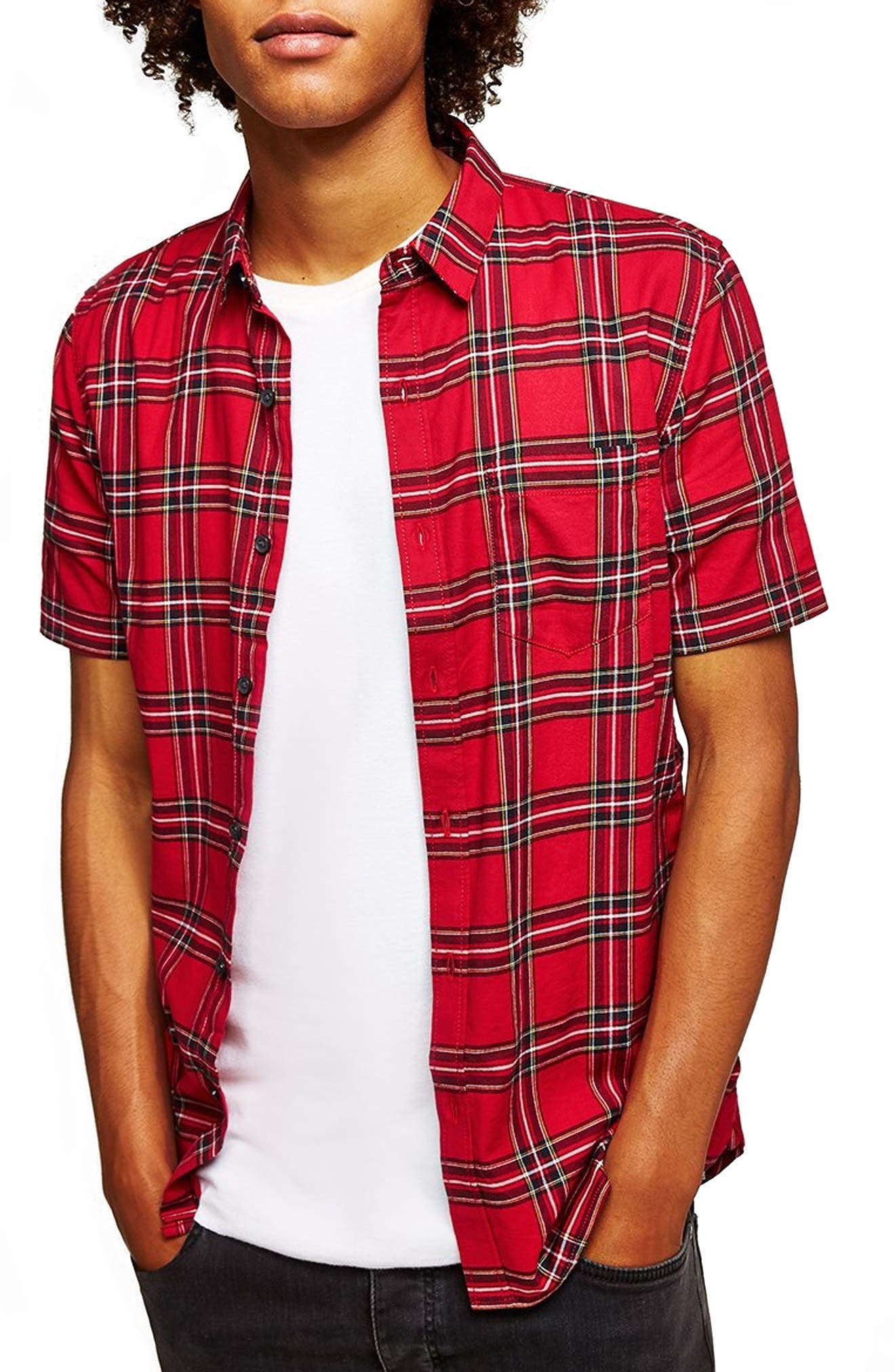 Muscle Fit Tartan Check Shirt,                             Main thumbnail 1, color,                             600