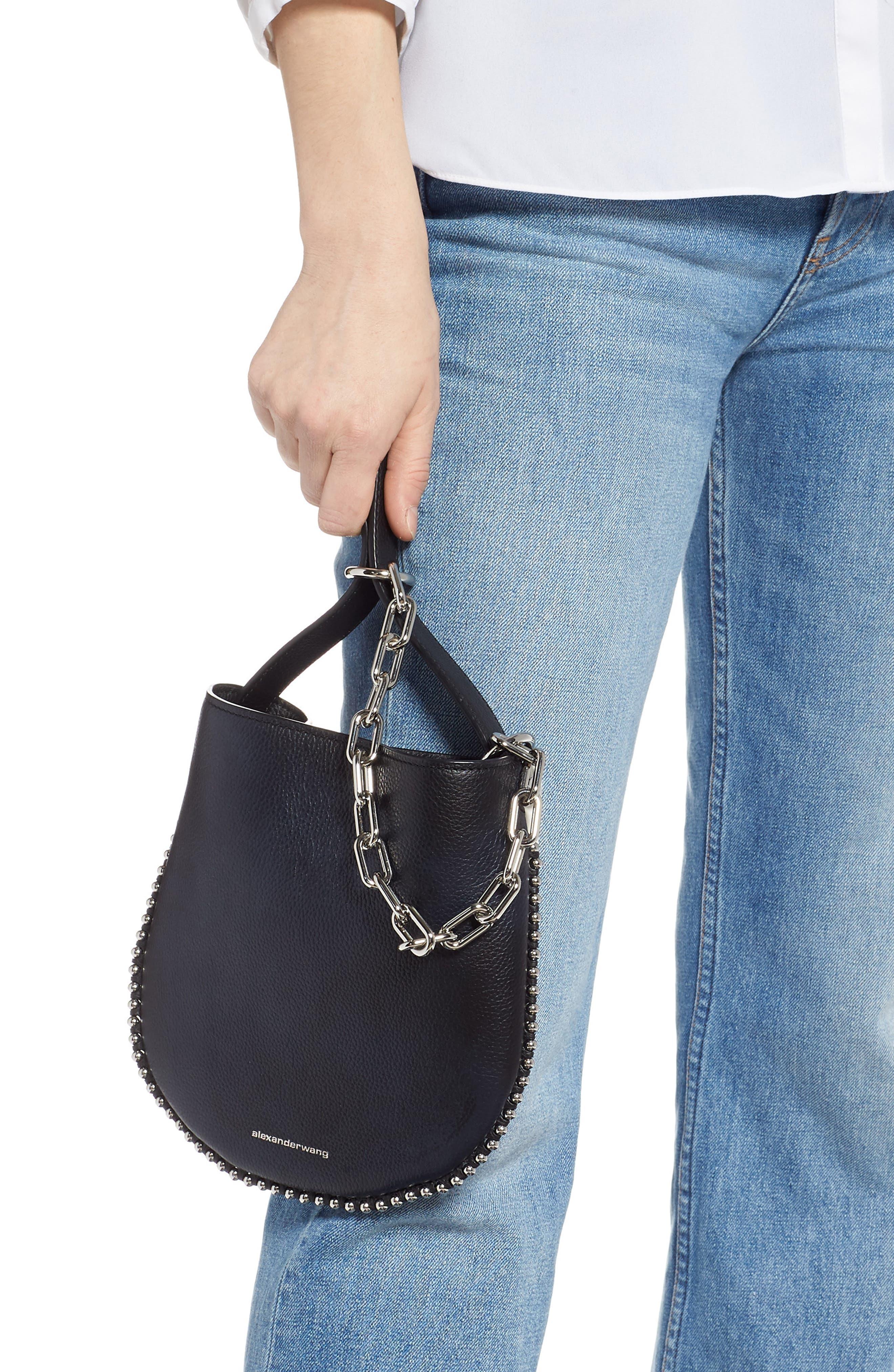 ALEXANDER WANG,                             Mini Roxy Leather Hobo Bag,                             Alternate thumbnail 3, color,                             BLACK/ WHITE