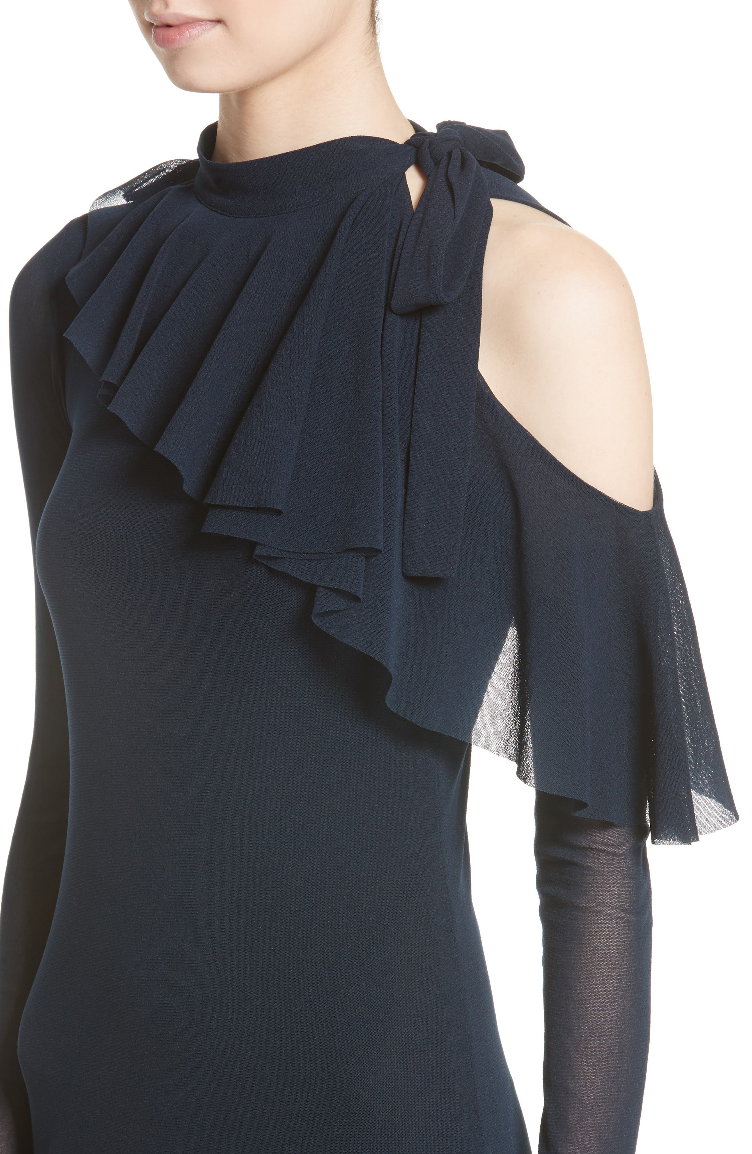 Tulle One-Shoulder Midi Dress,                             Alternate thumbnail 4, color,                             410
