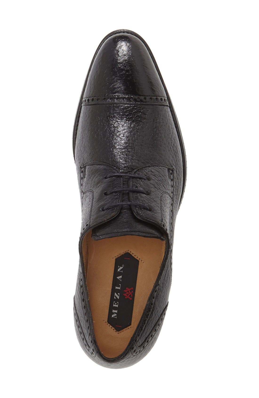 'Capri' Cap Toe Derby,                             Alternate thumbnail 3, color,                             BLACK