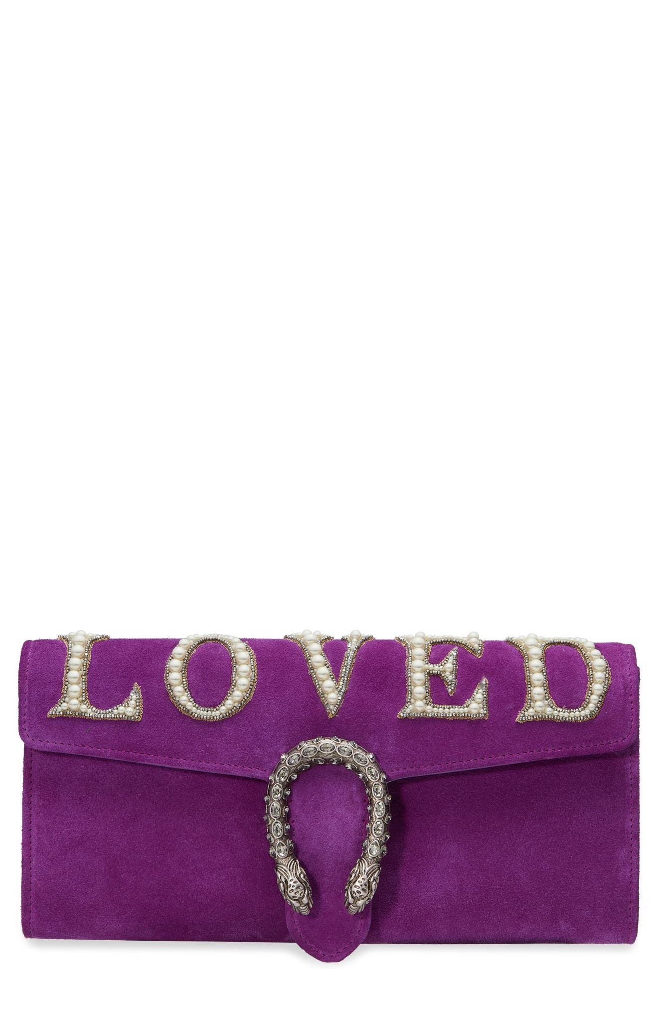 Dionysus Suede Clutch,                             Main thumbnail 1, color,                             559