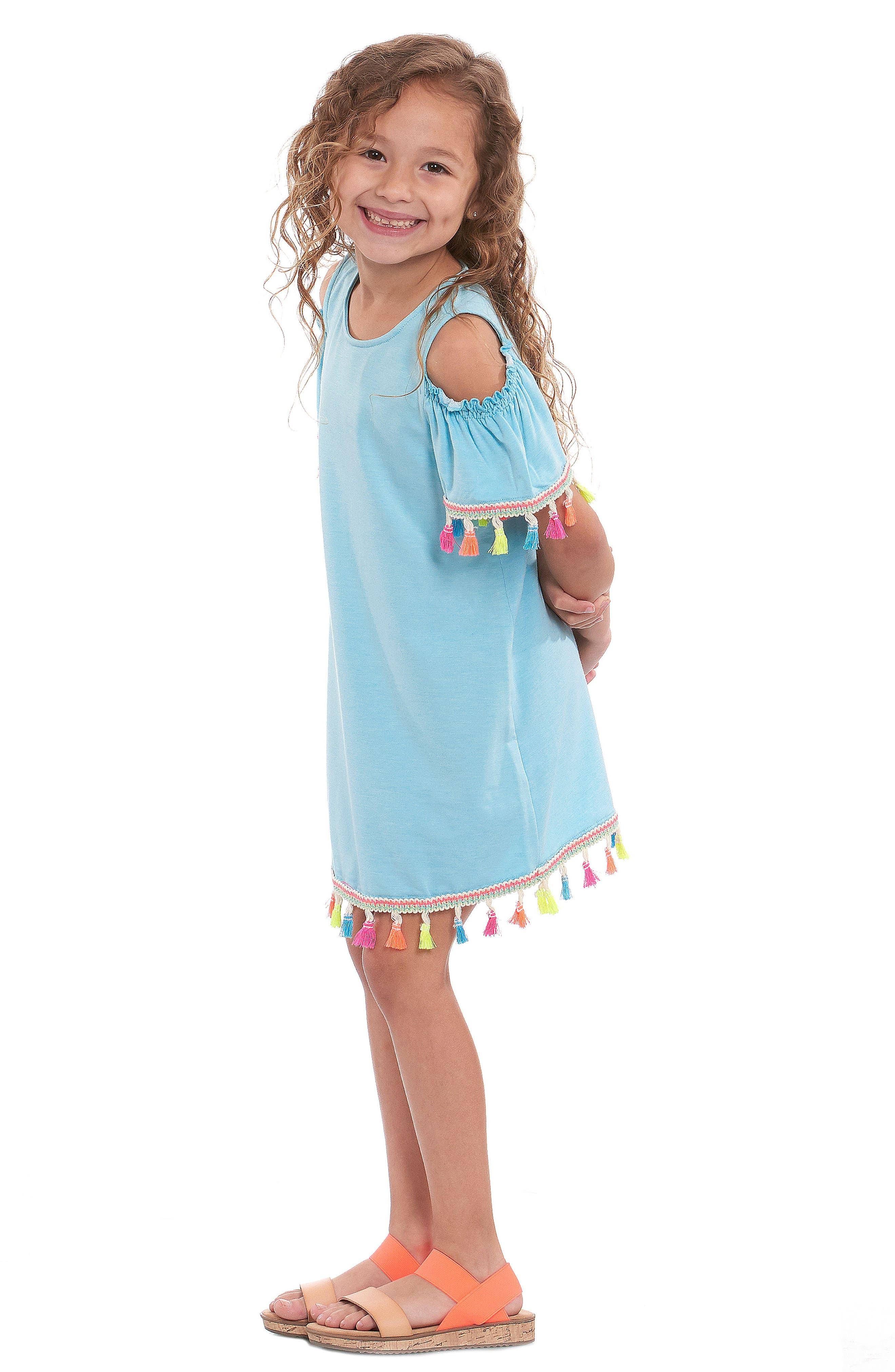 Tassel Cold Shoulder Dress,                             Alternate thumbnail 5, color,                             460