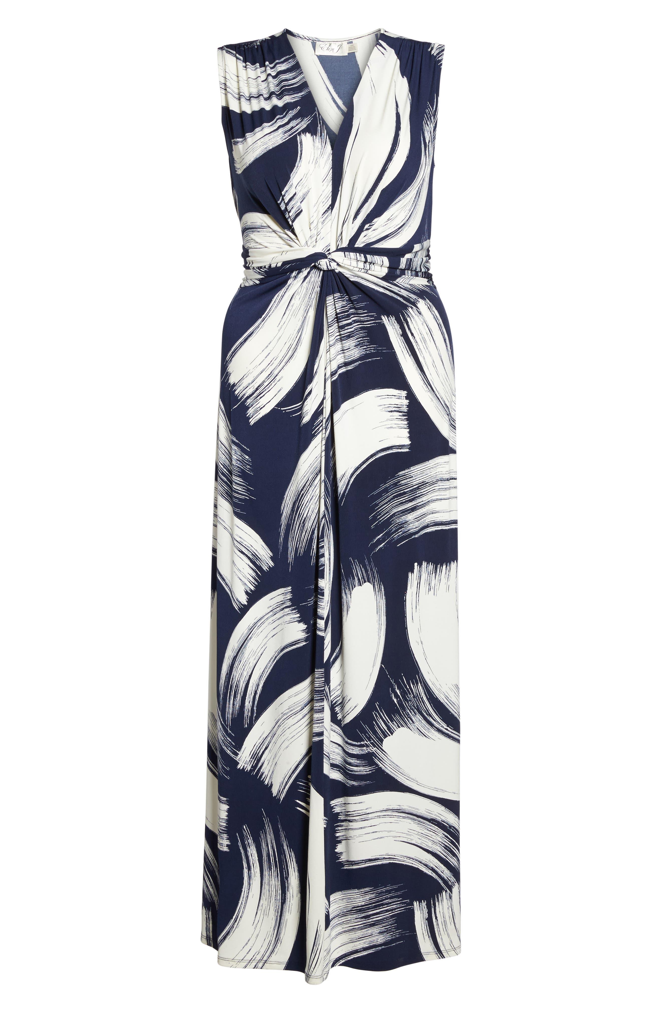 Brush Print Jersey Maxi Dress,                             Alternate thumbnail 6, color,                             407