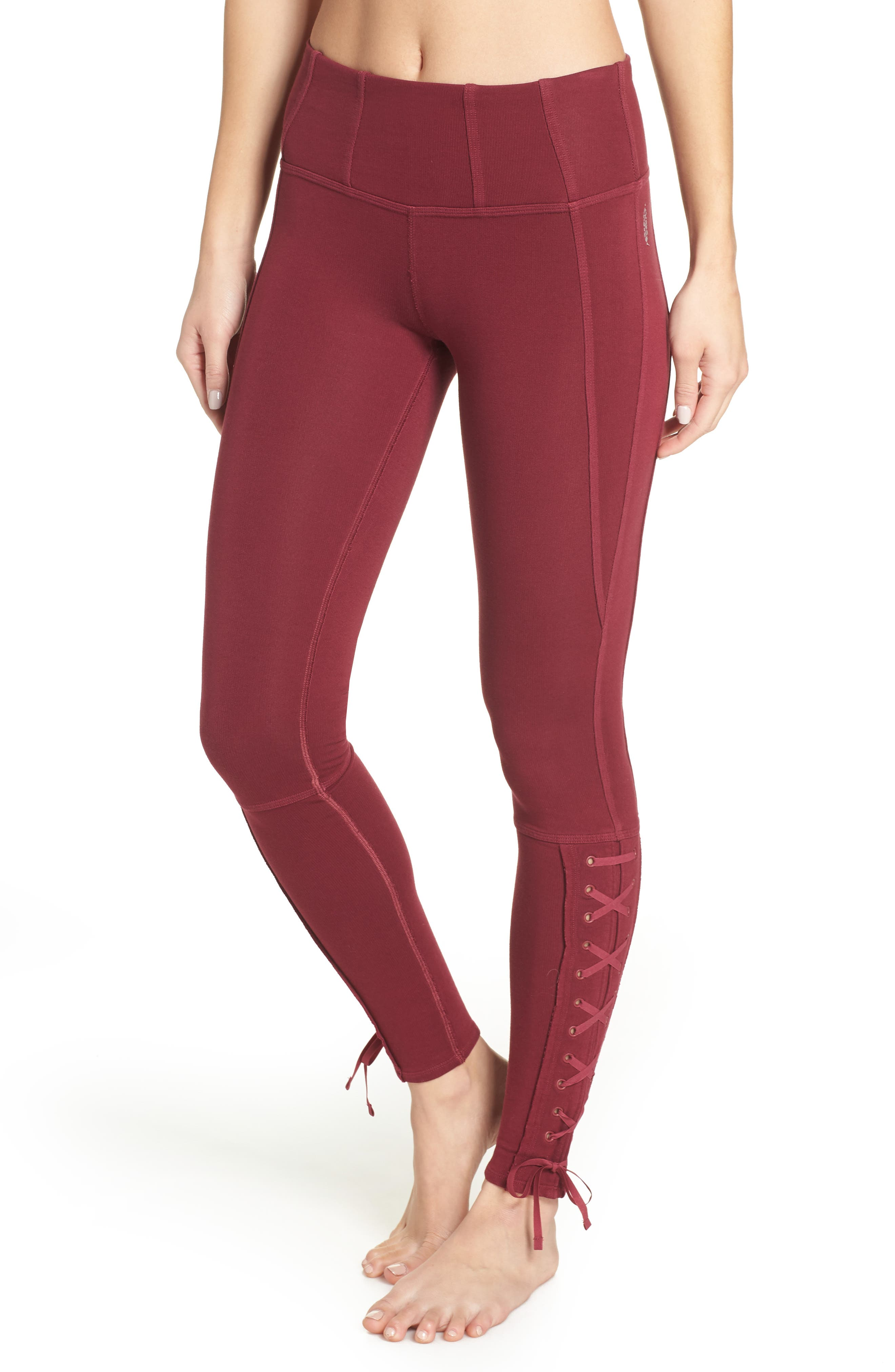 Free People Fp Movement Pixi Lace-Up Leggings, Red