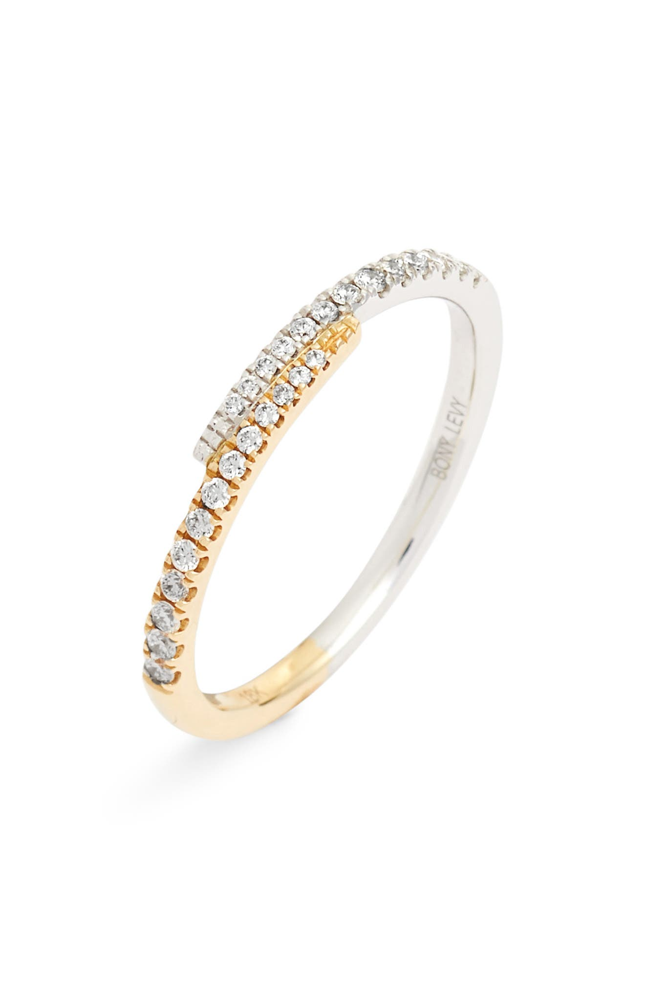 Diamond Overlap Stacking Ring,                             Main thumbnail 1, color,                             YELLOW GOLD/ WHITE GOLD