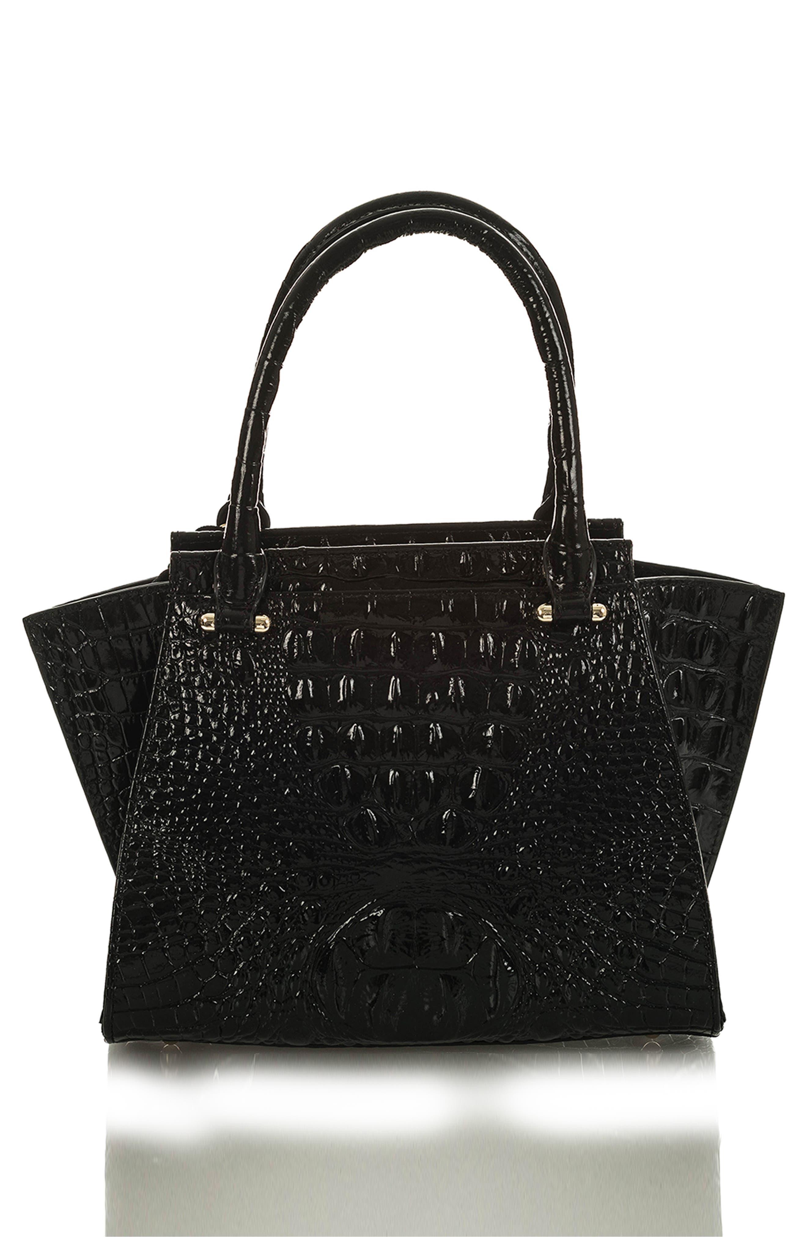 Mini Priscilla Floral Leather Satchel,                             Alternate thumbnail 2, color,                             BLACK THAMES