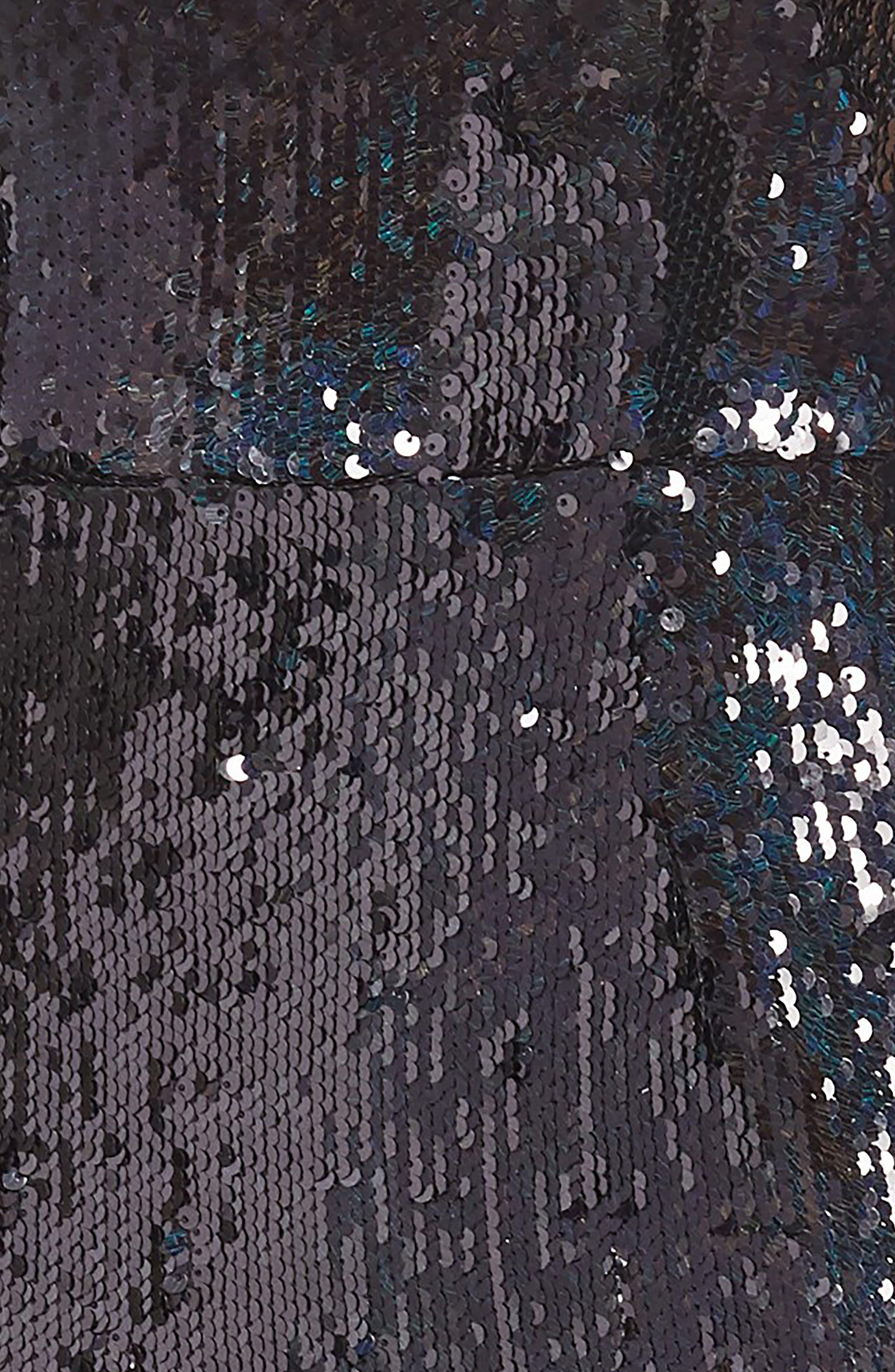 Lynda High Shine Sequin Cocktail Sheath Dress,                             Alternate thumbnail 4, color,                             BLACK PEARL