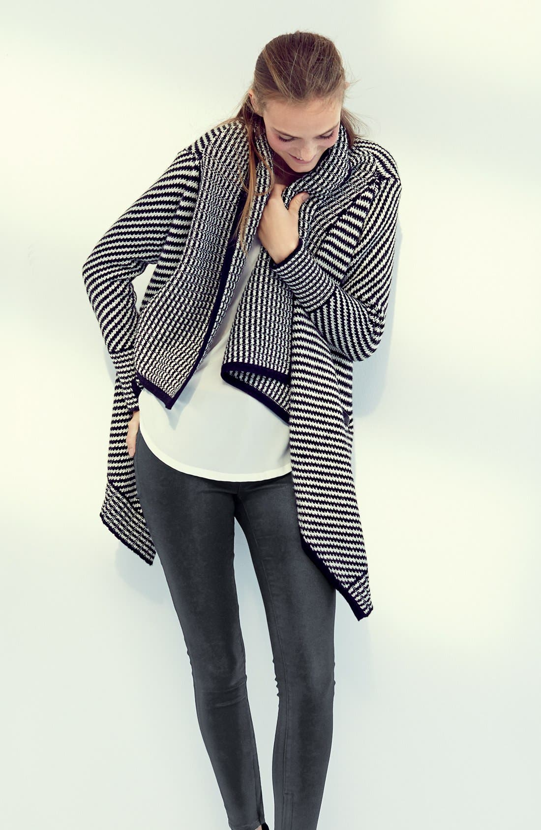 JOIE,                             'Mathisa' Open Front Wool & Cashmere Cardigan,                             Alternate thumbnail 5, color,                             004