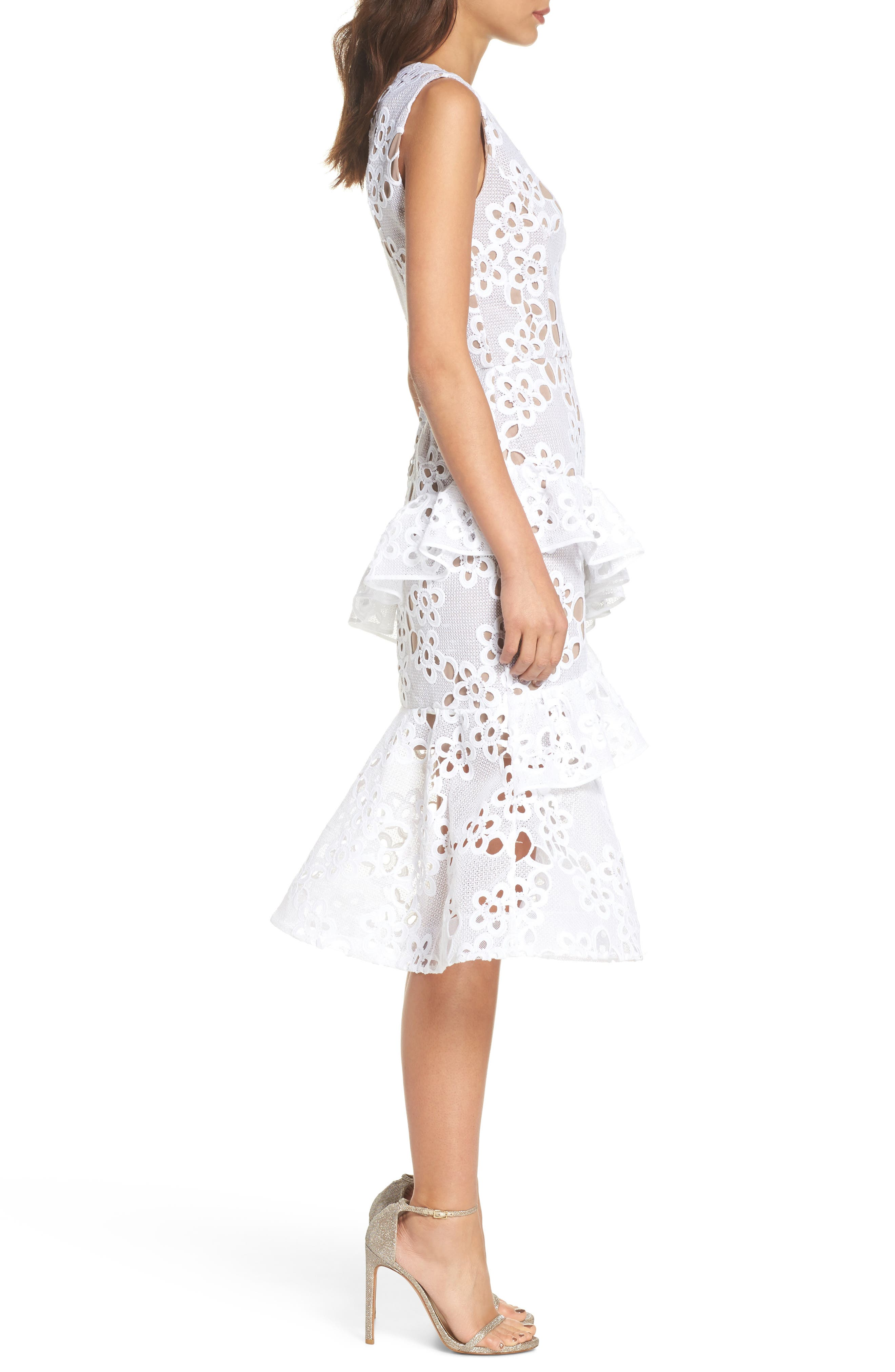 Donna Ruffle Lace Midi Dress,                             Alternate thumbnail 3, color,                             100