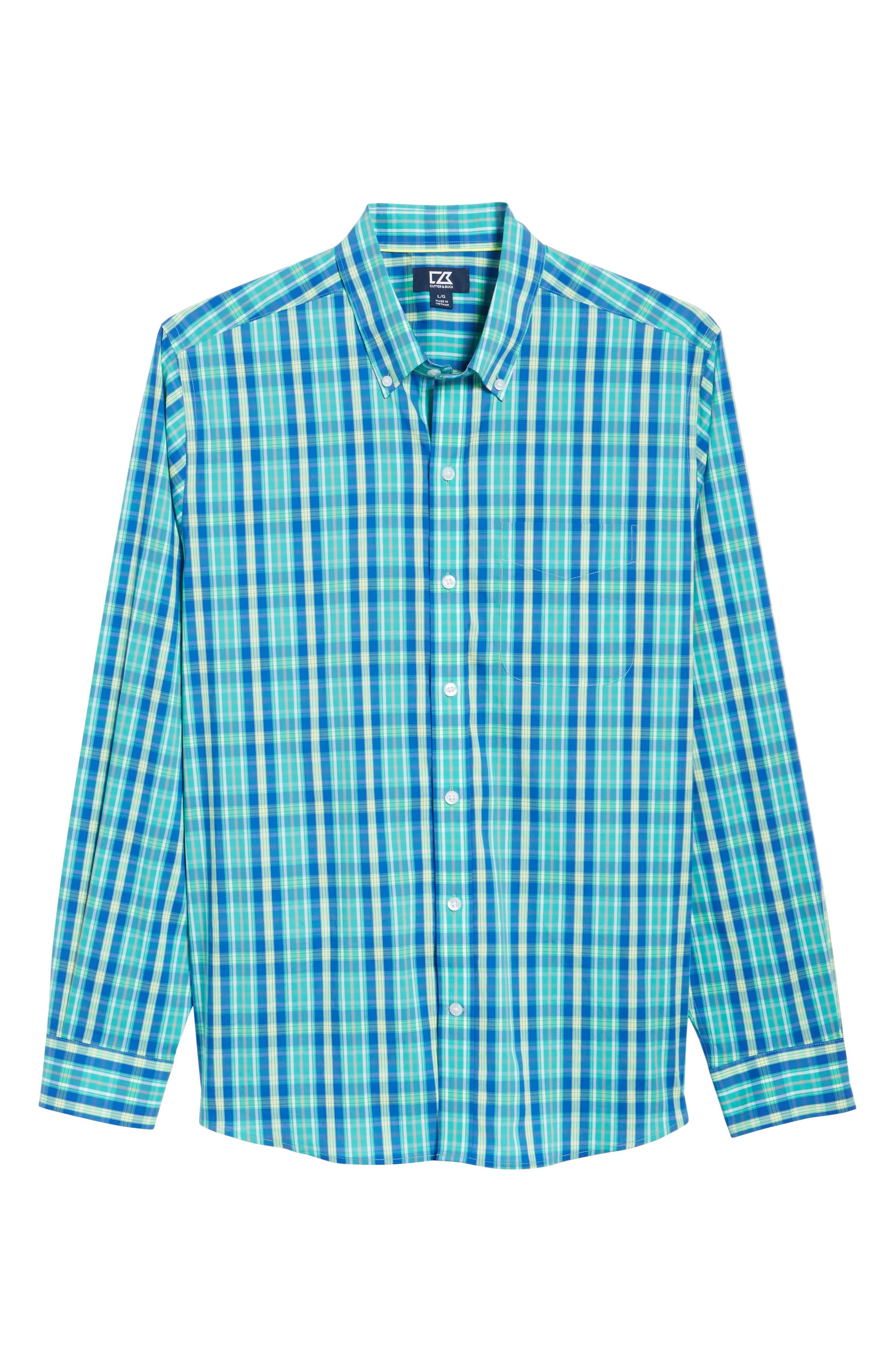 Carter Plaid Performance Sport Shirt,                             Alternate thumbnail 6, color,                             752