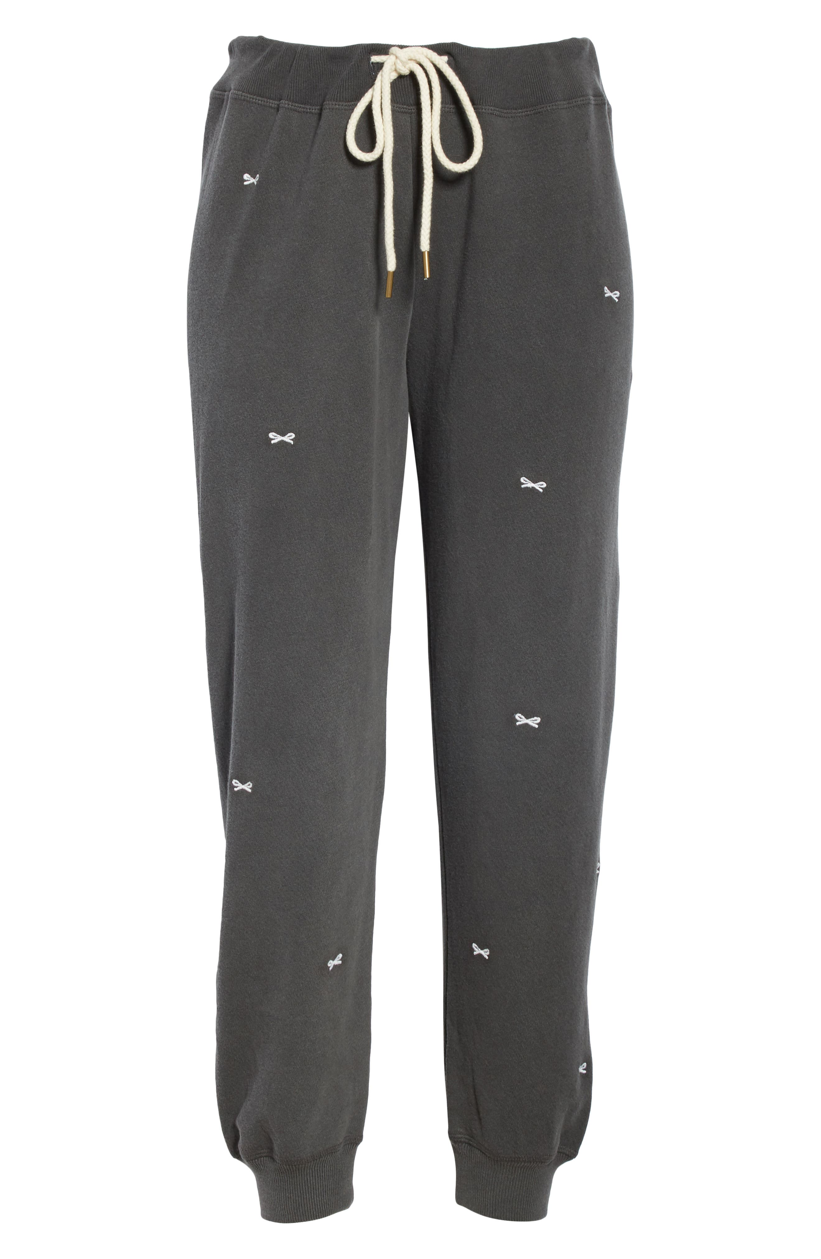 The Cropped Sweatpants,                             Alternate thumbnail 6, color,                             WASHED BLACK/ WHITE
