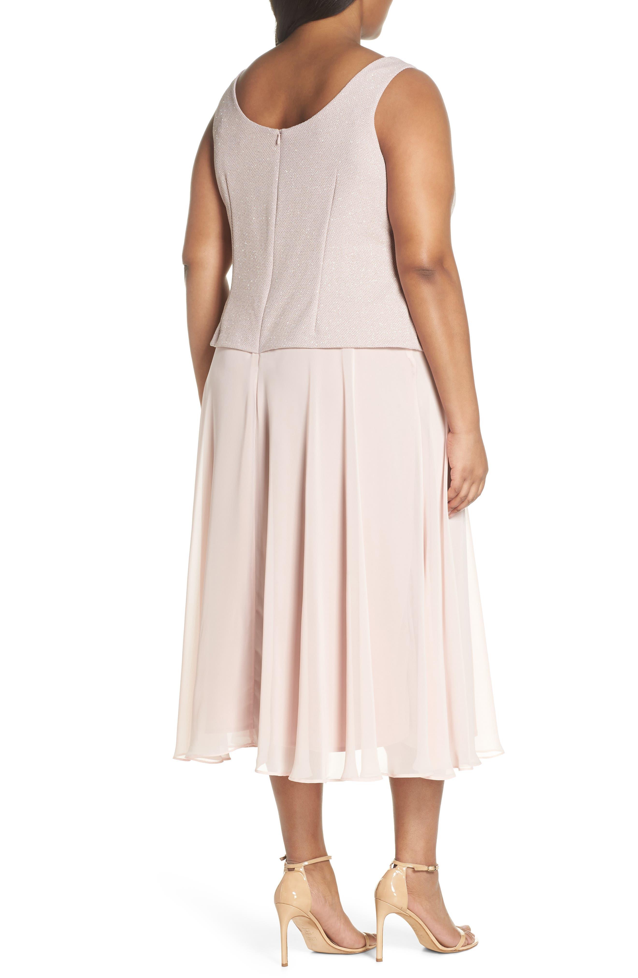 Glitter Tea Length A-Line Dress with Jacket,                             Alternate thumbnail 4, color,                             680