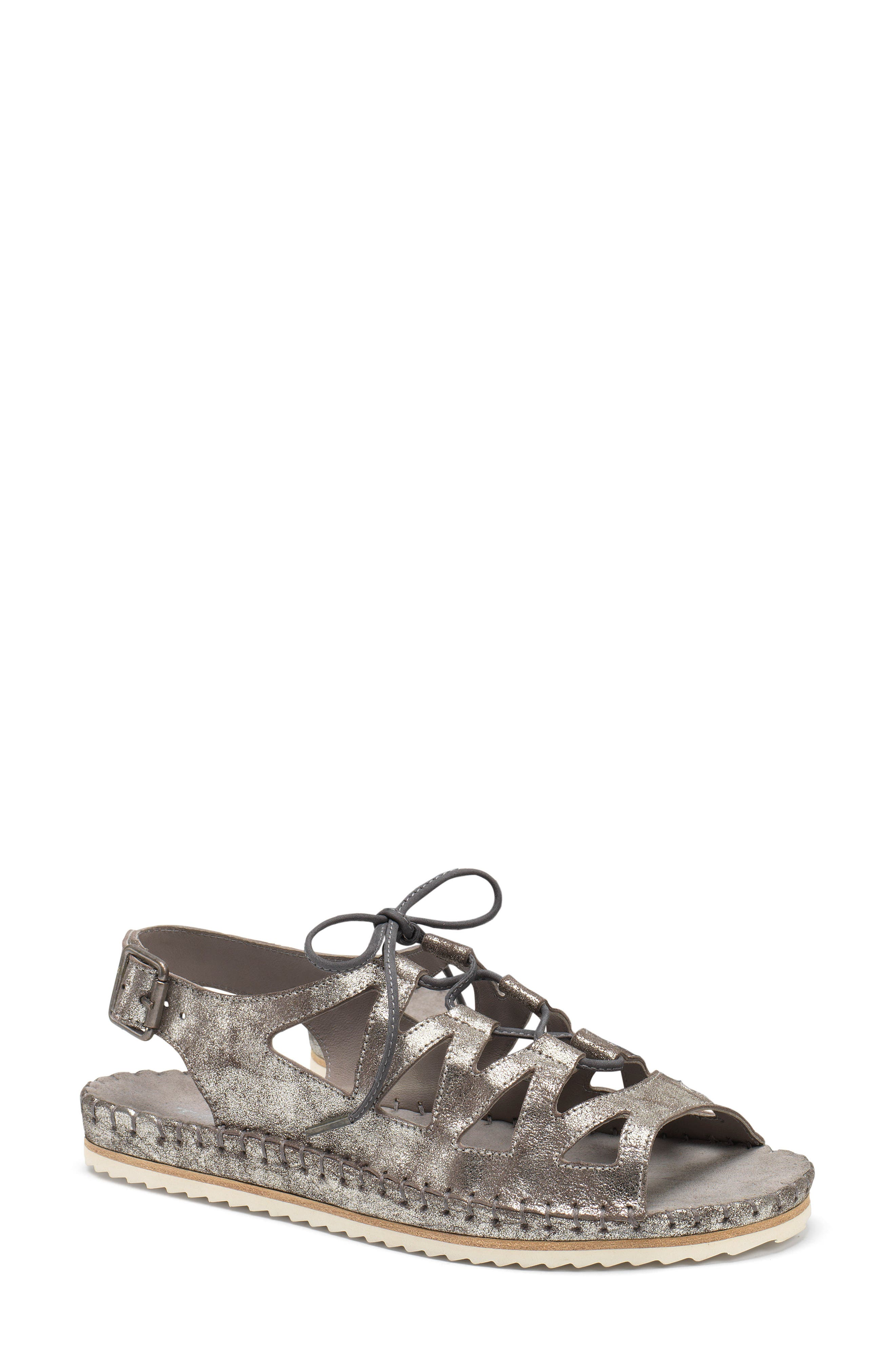 Chandler Ghillie Sandal,                             Main thumbnail 1, color,                             PEWTER LEATHER