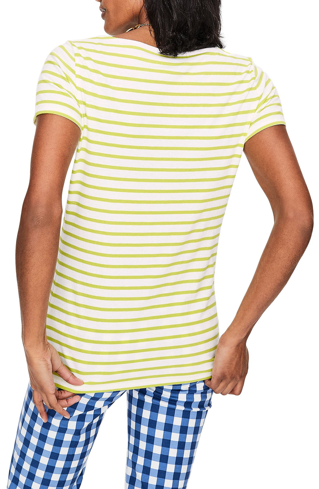 Breton Short Sleeve Stripe Cotton Top,                             Alternate thumbnail 9, color,