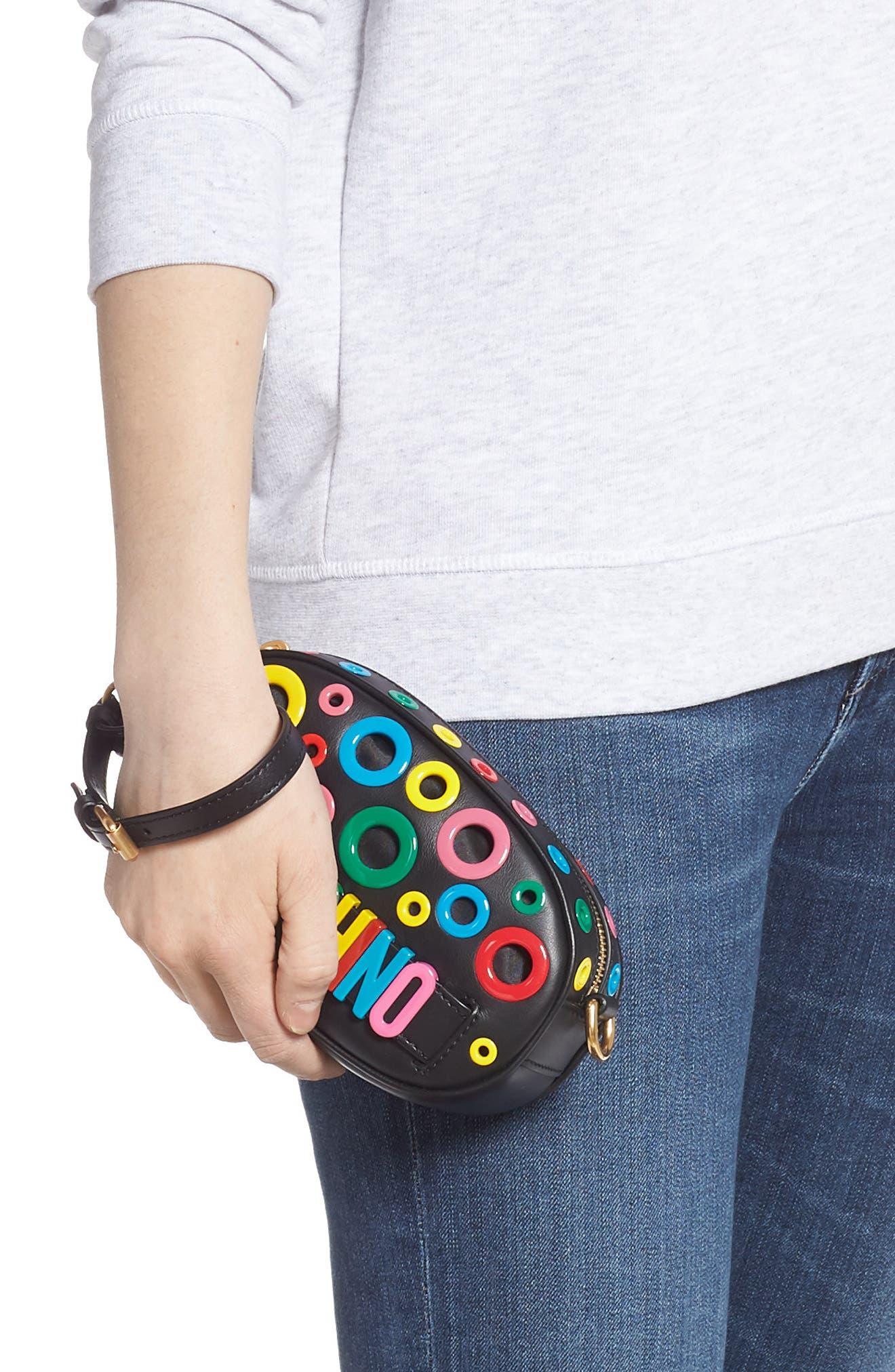 MOSCHINO,                             Multi Grommet Belt Bag,                             Alternate thumbnail 3, color,                             BLACK