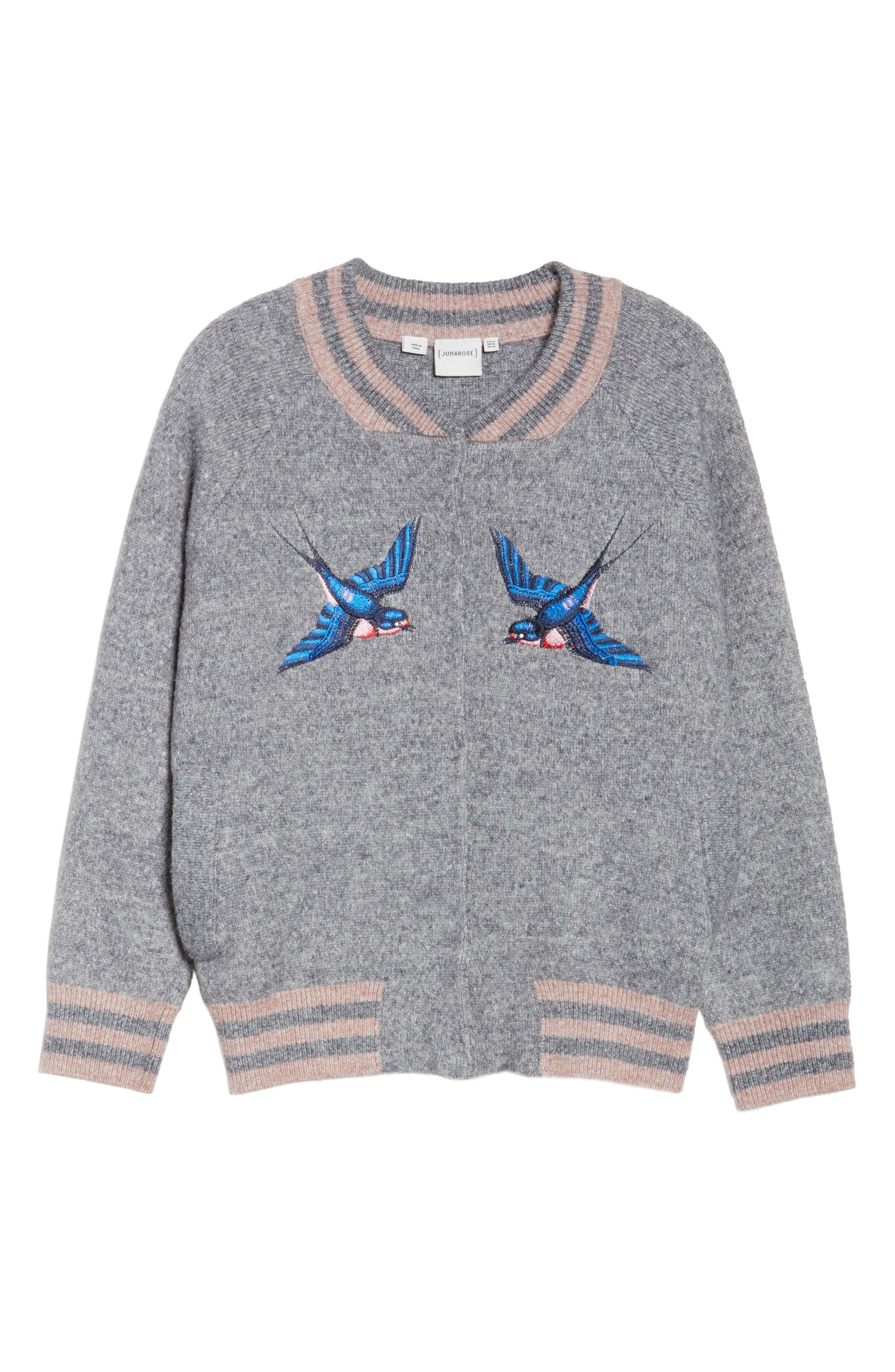 Zanja Embroidered Knit Bomber Jacket,                             Alternate thumbnail 5, color,                             034