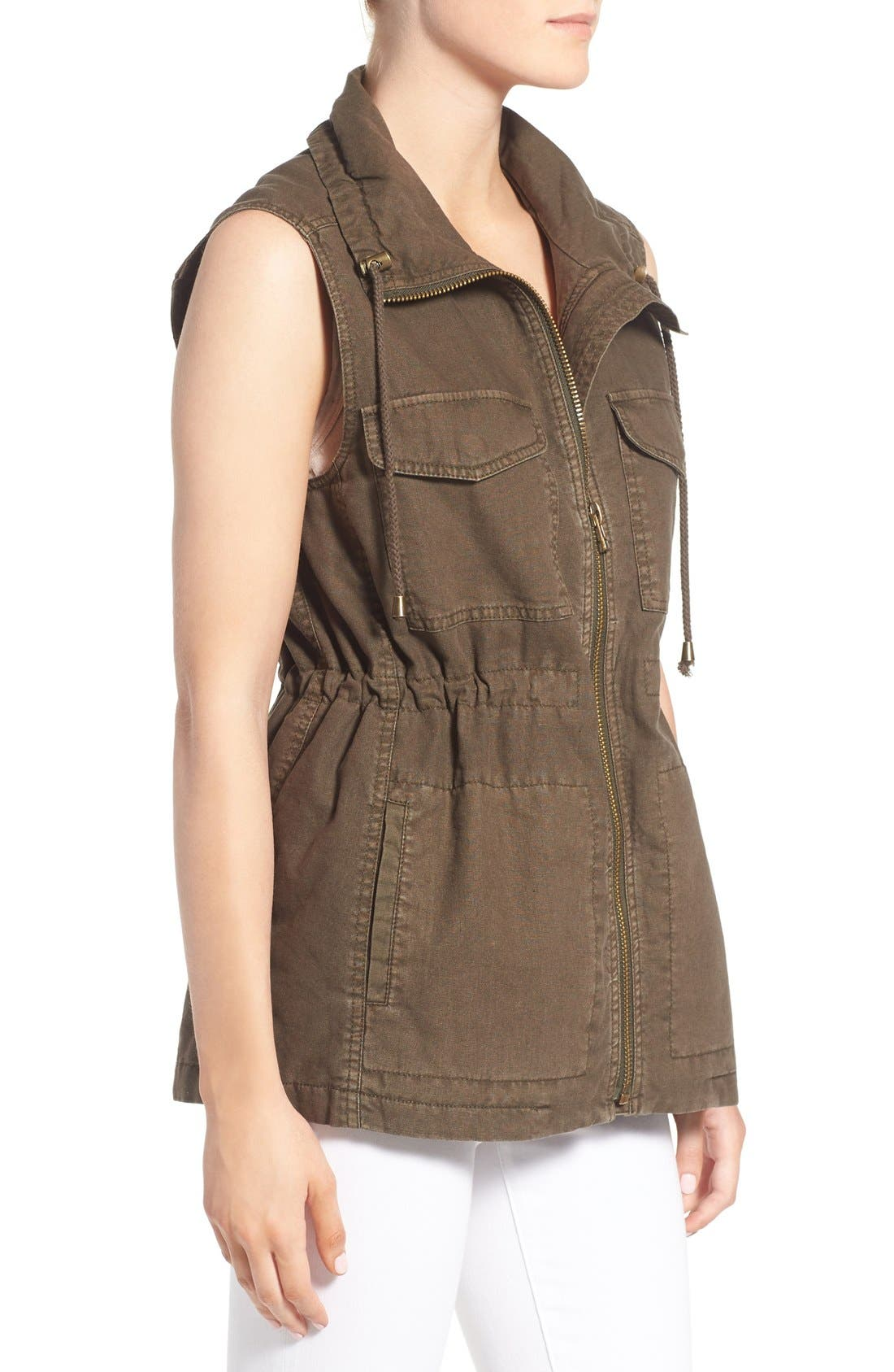 Cotton & Linen Military Vest,                             Alternate thumbnail 3, color,                             308