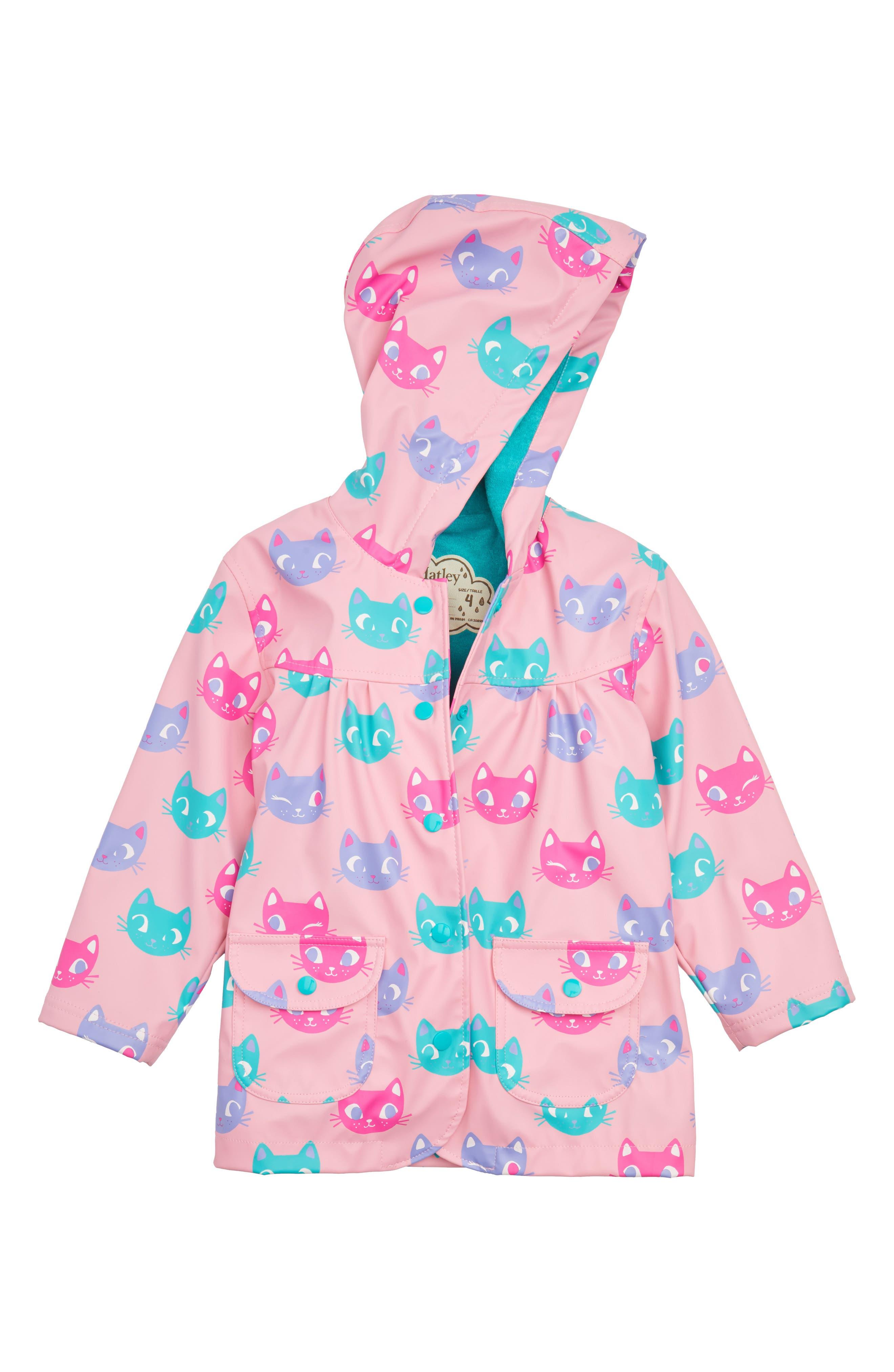 Silly Kitties Print Raincoat,                             Main thumbnail 1, color,                             550