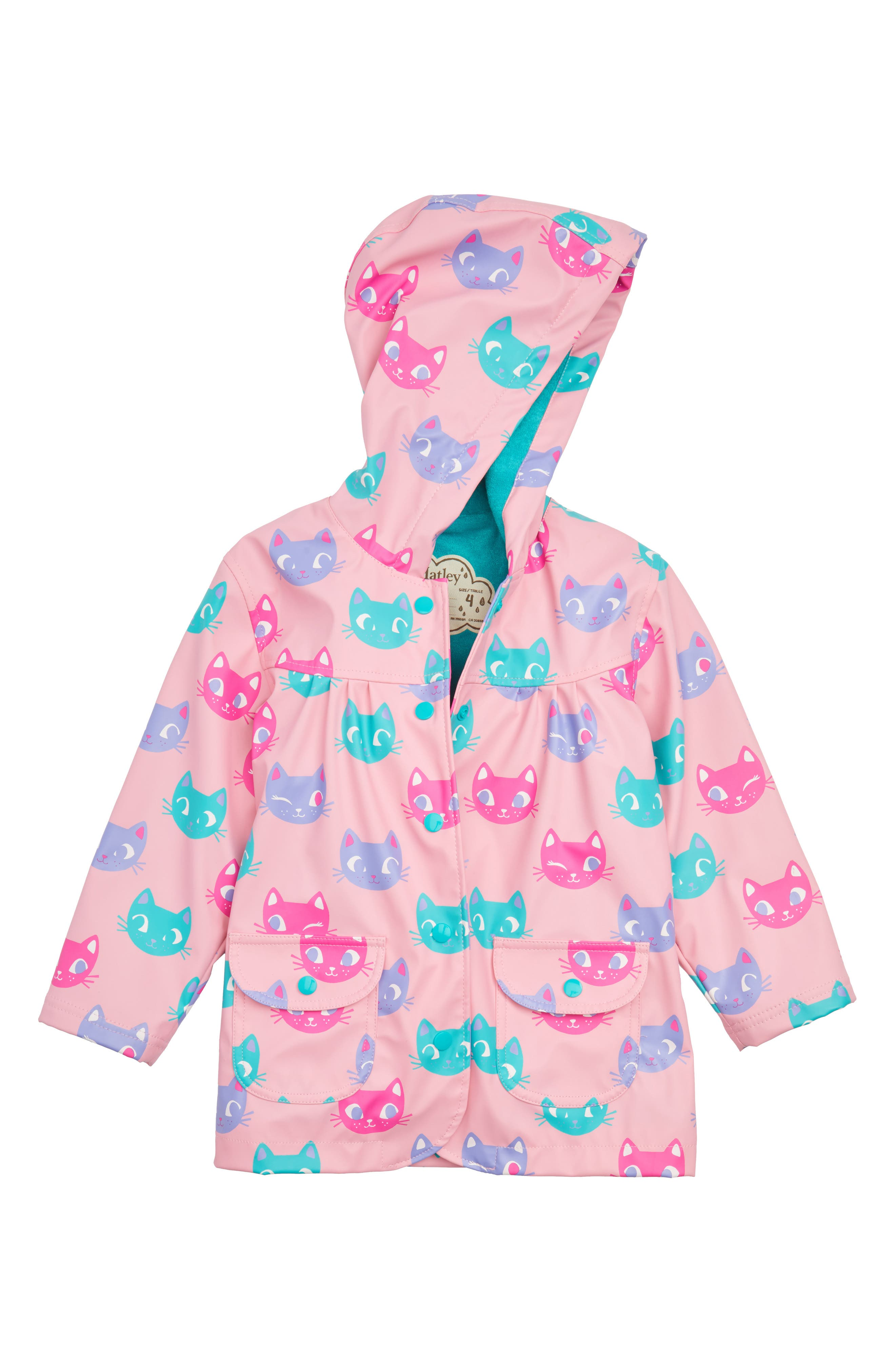 Silly Kitties Print Raincoat,                         Main,                         color, 550