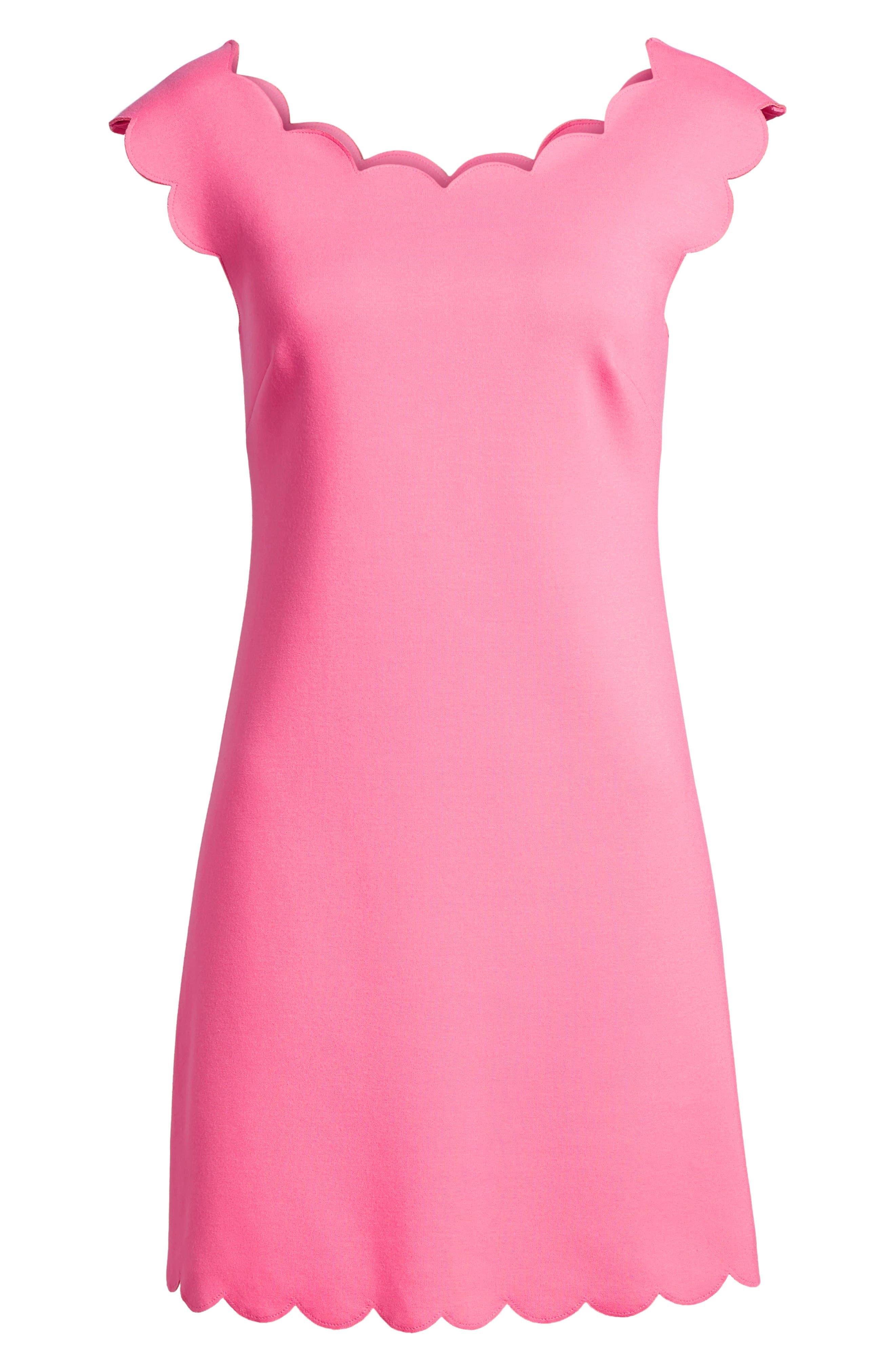 Petal Scalloped A-Line Dress,                             Alternate thumbnail 13, color,