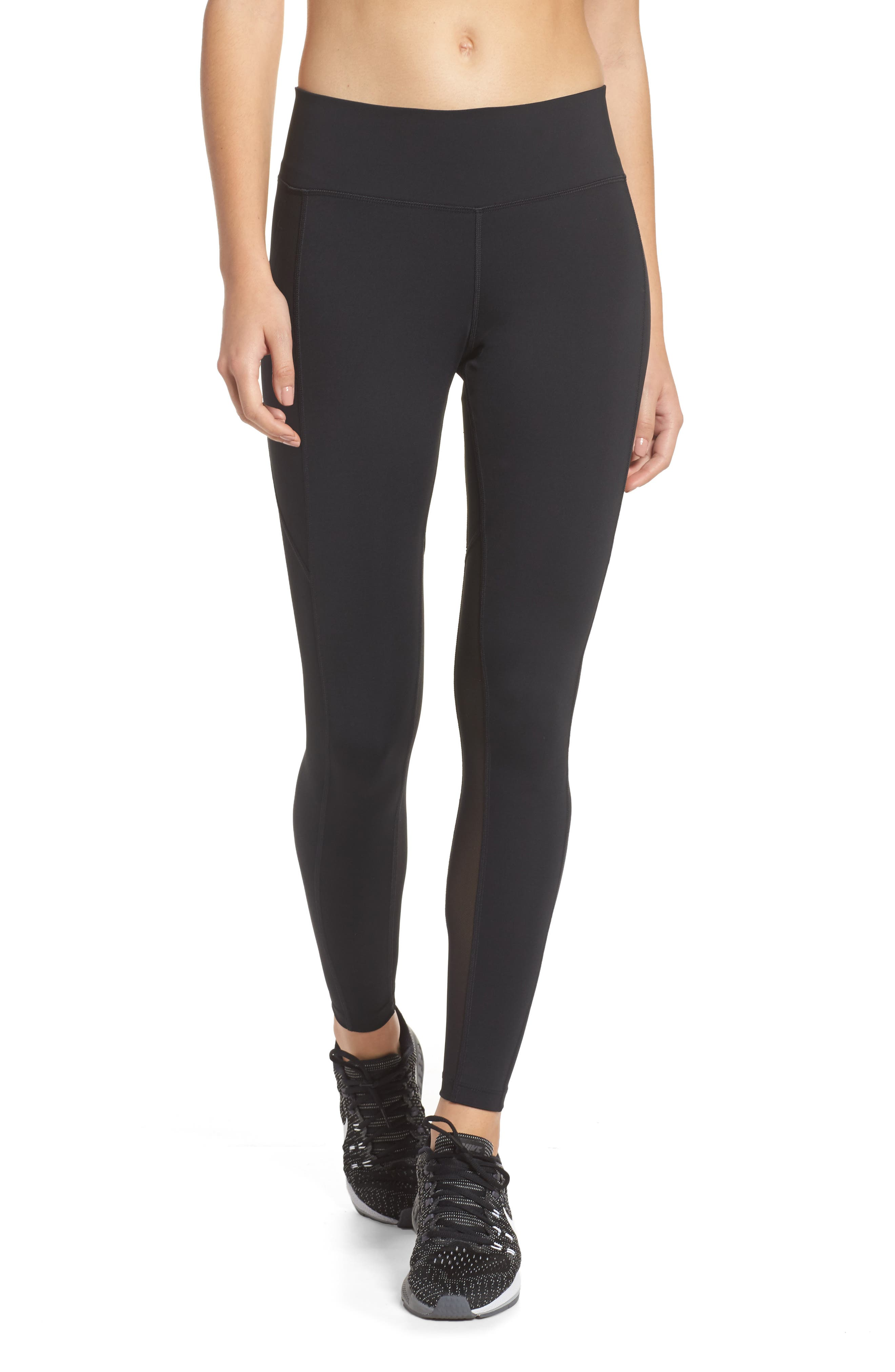 Power Pocket Lux Ankle Tights,                         Main,                         color, BLACK/ BLACK/ CLEAR