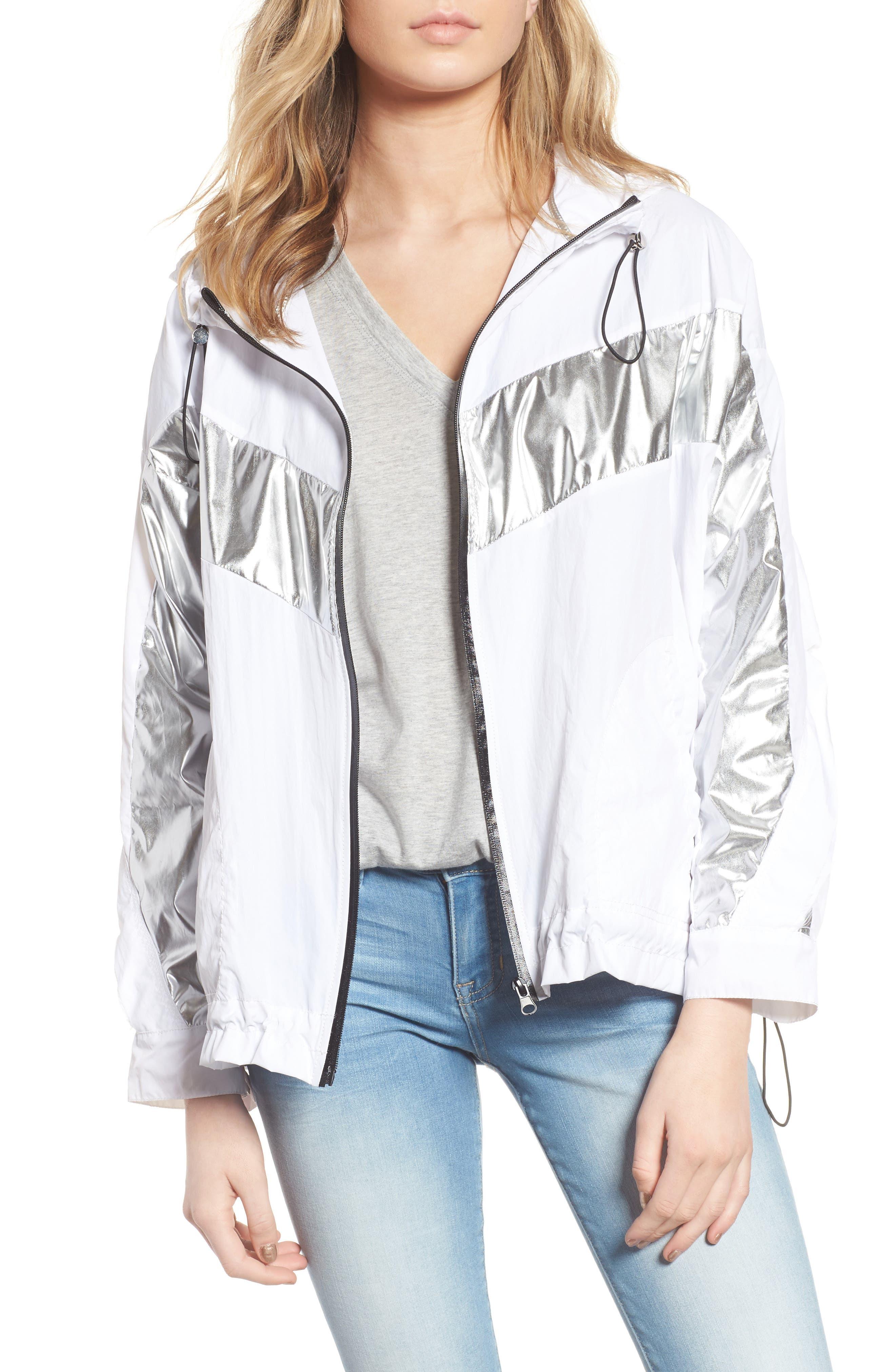Metallic Stripe Windbreaker Jacket,                         Main,                         color,