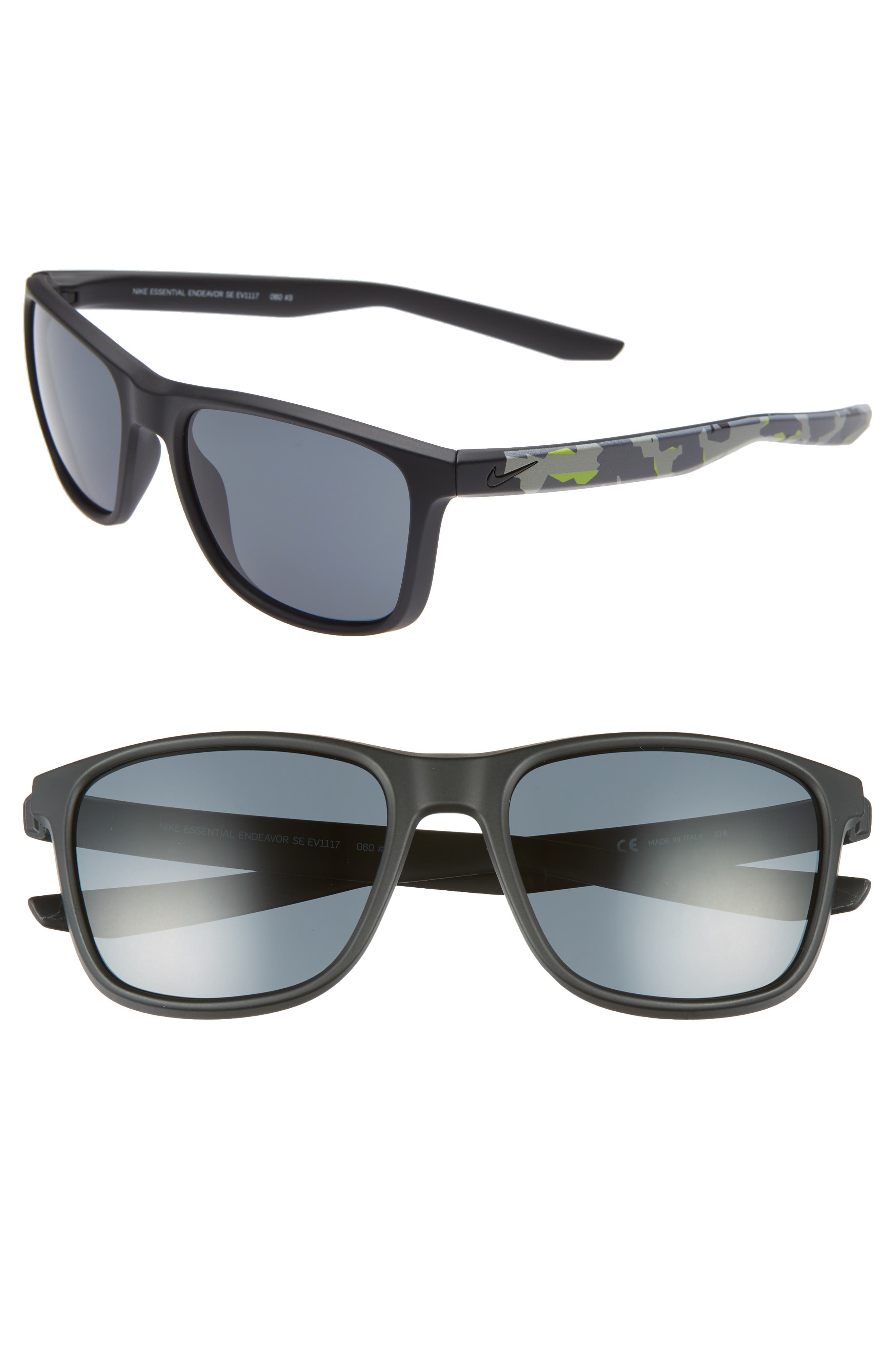 Nike Essential Endeavor 57Mm Square Sunglasses - Matte Black/ Dark Grey
