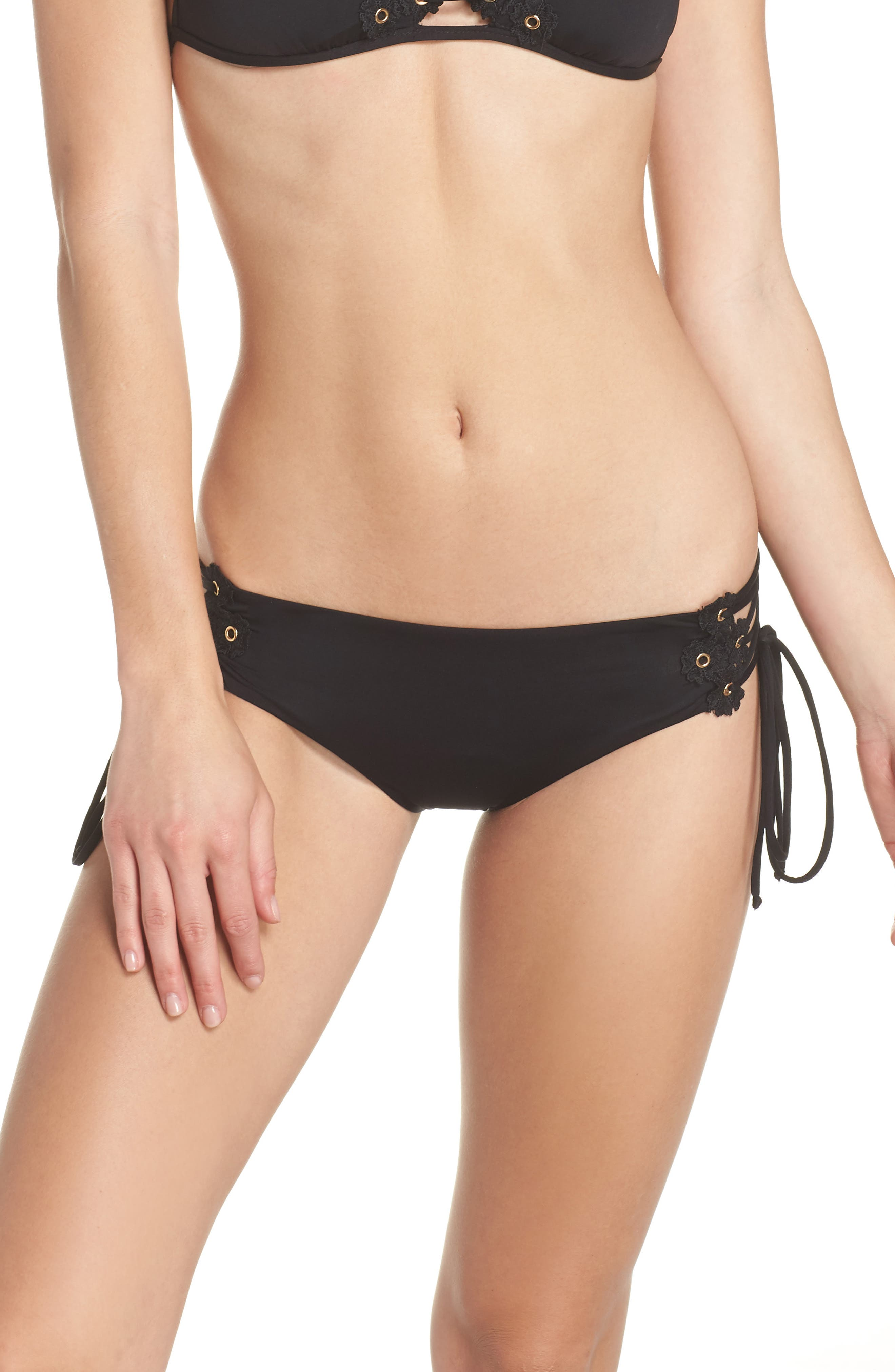 Set Sail Lace-Up Bikini Bottoms,                         Main,                         color, BLACK