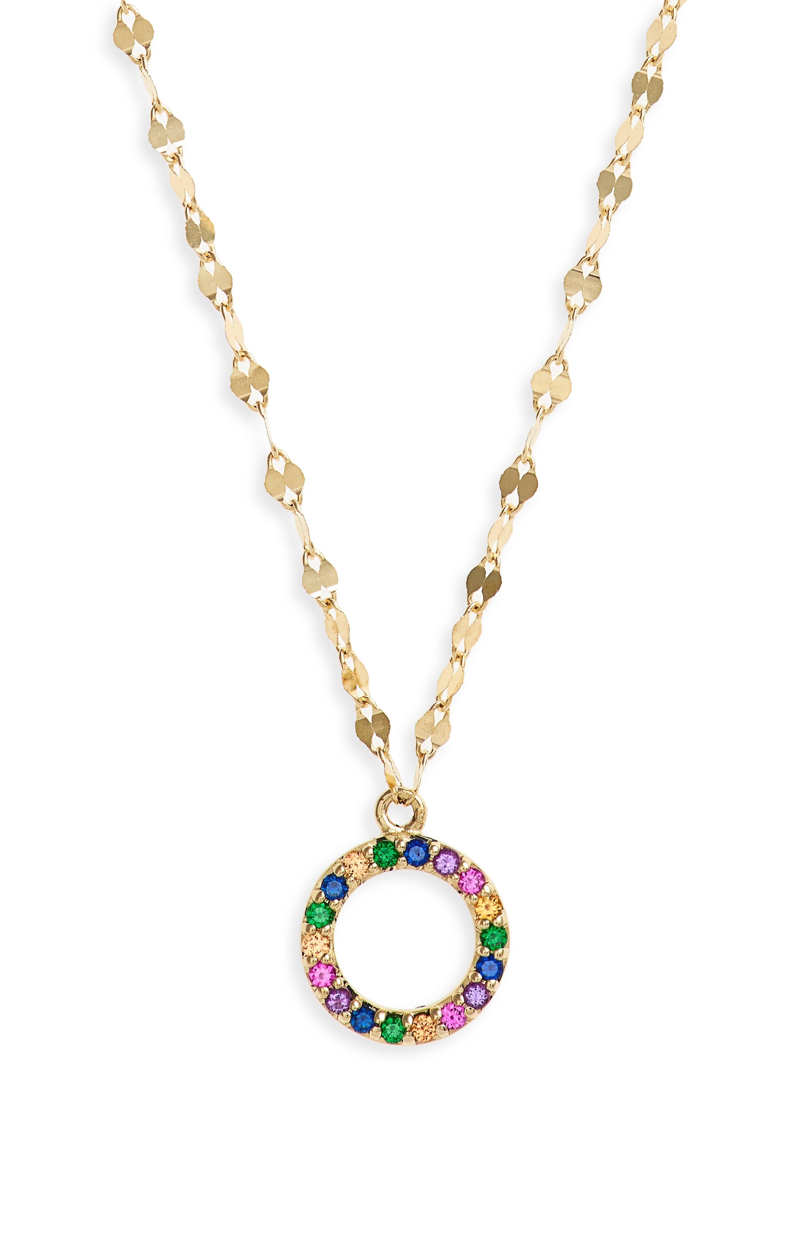Mini Circle Sapphire Pendant Necklace,                         Main,                         color, 710