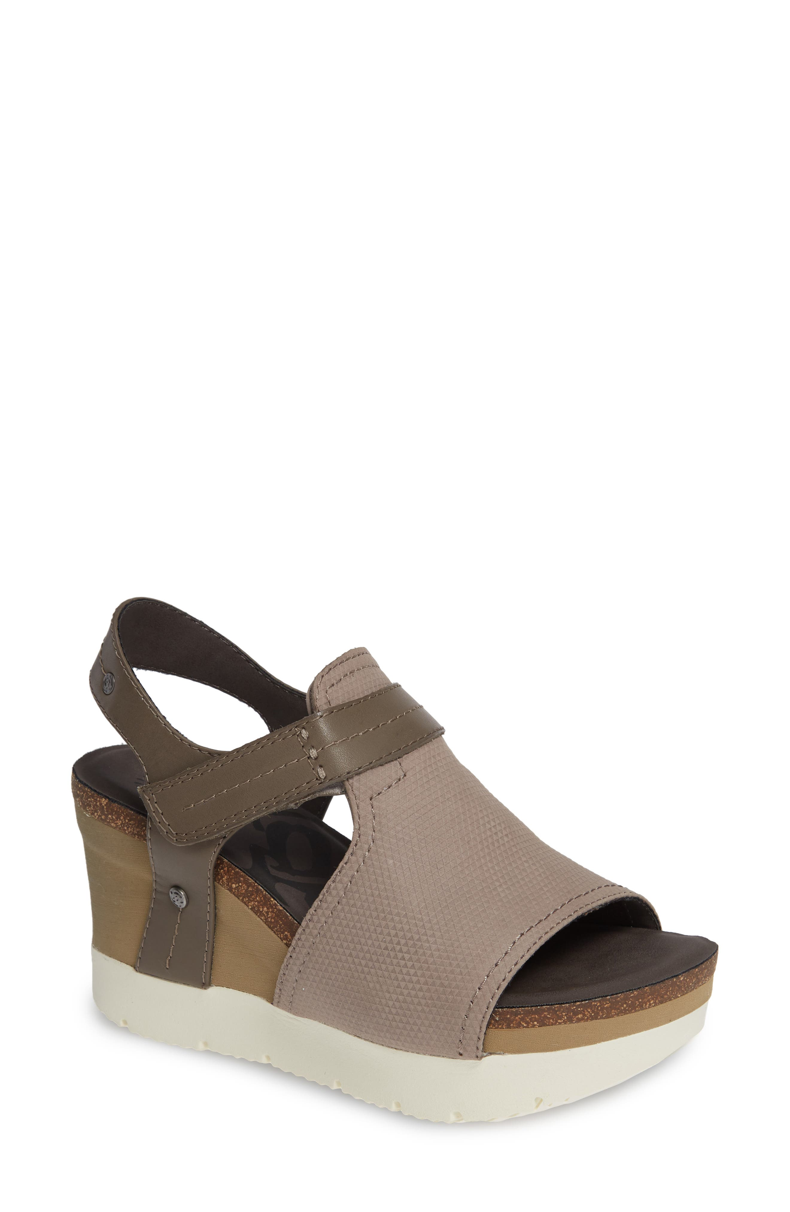 Waypoint Wedge Sandal,                             Main thumbnail 1, color,                             CACAO LEATHER