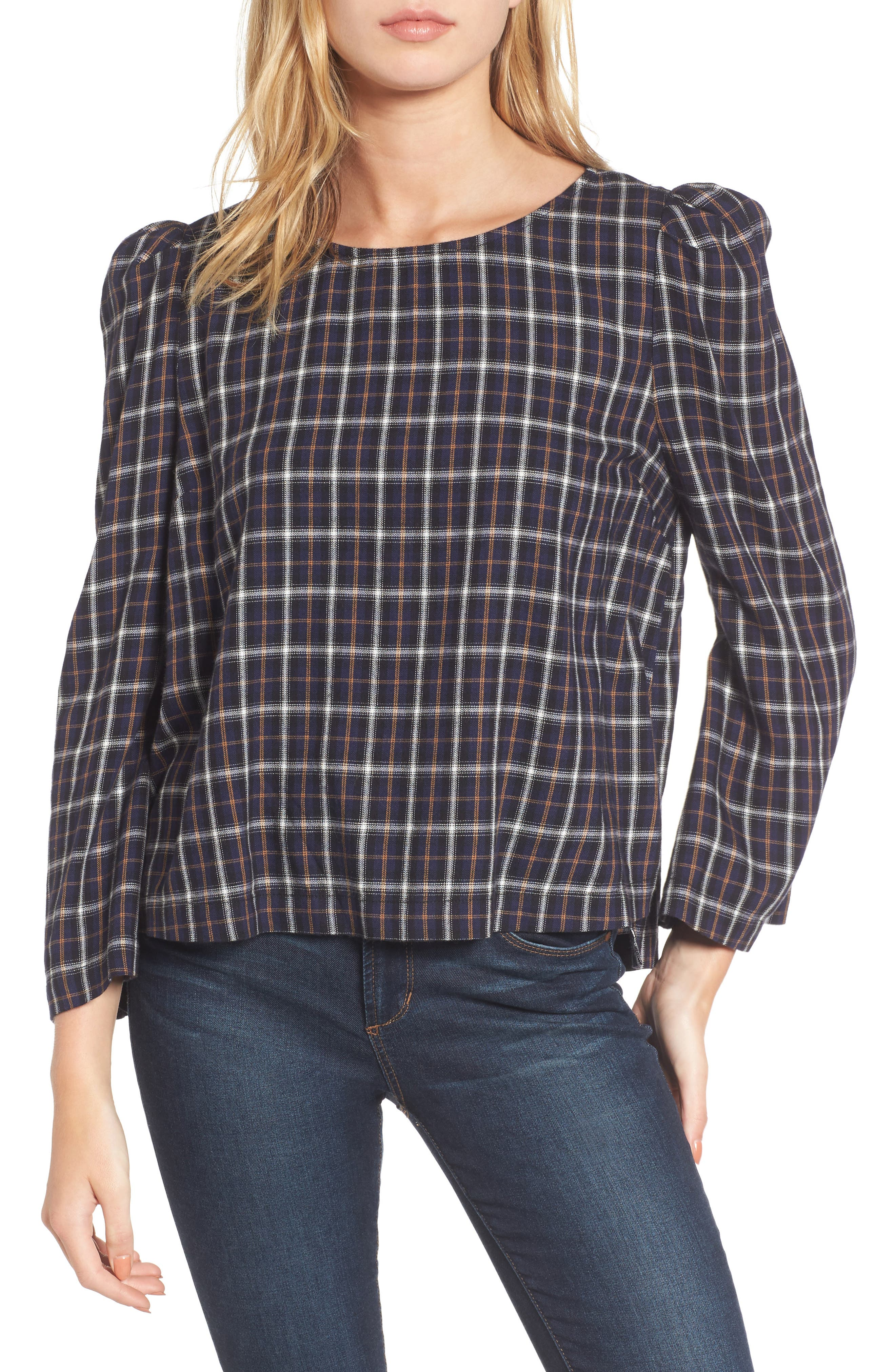 Puff Sleeve Plaid Top,                         Main,                         color, 410