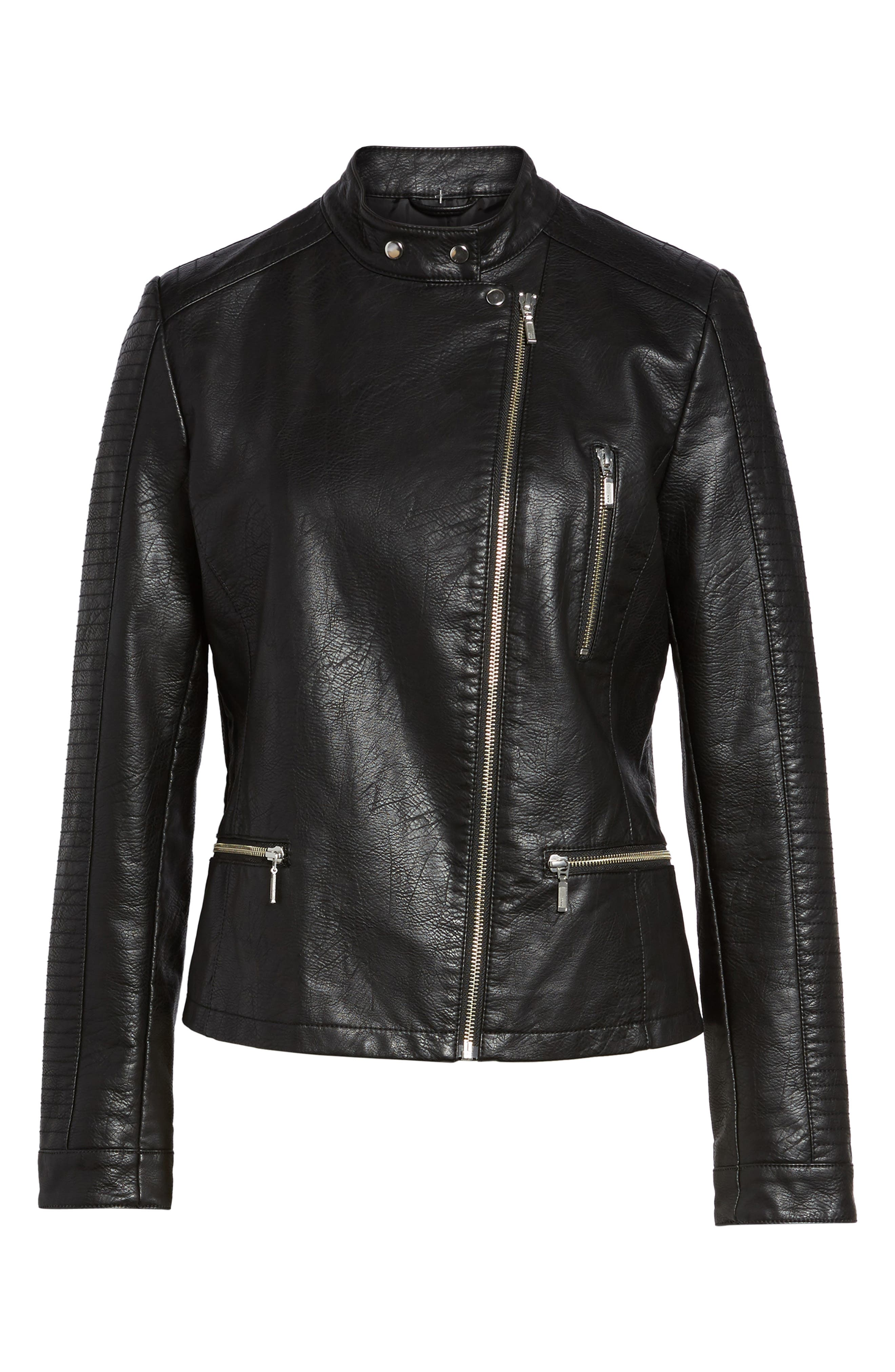 Quilted Faux Leather Moto Jacket,                             Alternate thumbnail 5, color,                             BLACK