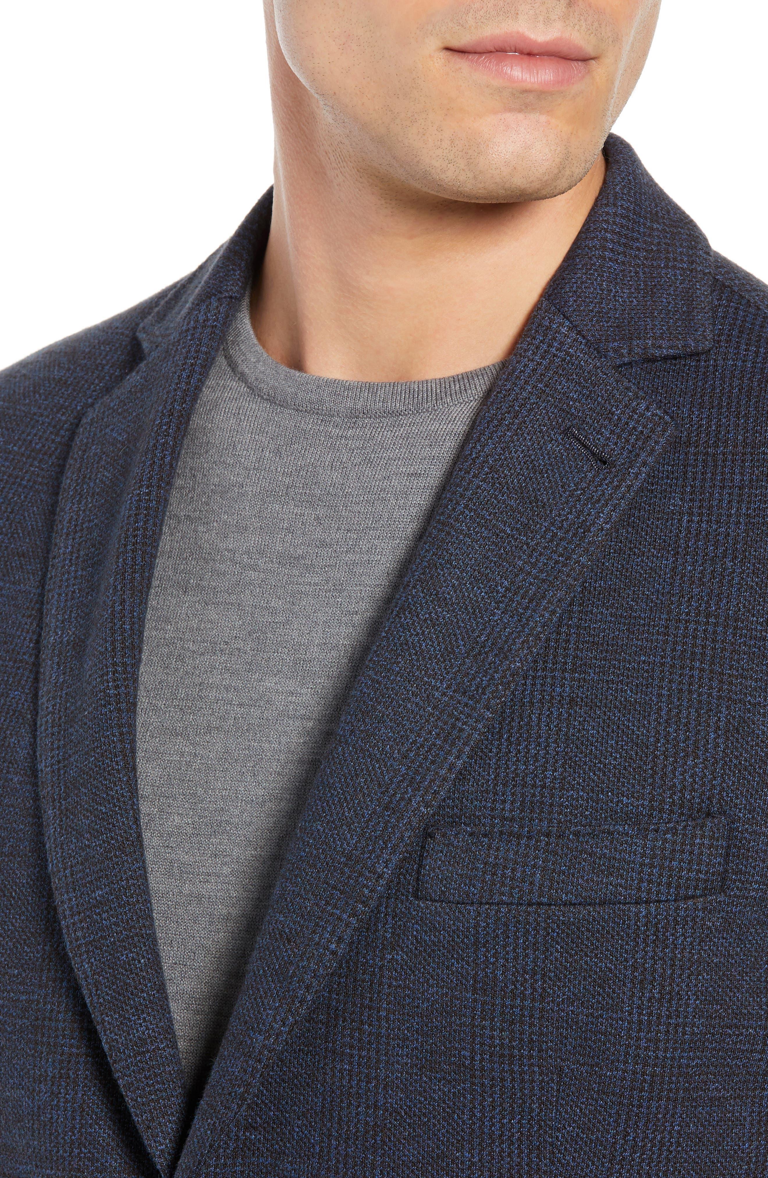 Regular Fit Knit Sport Coat,                             Alternate thumbnail 4, color,                             BROWN