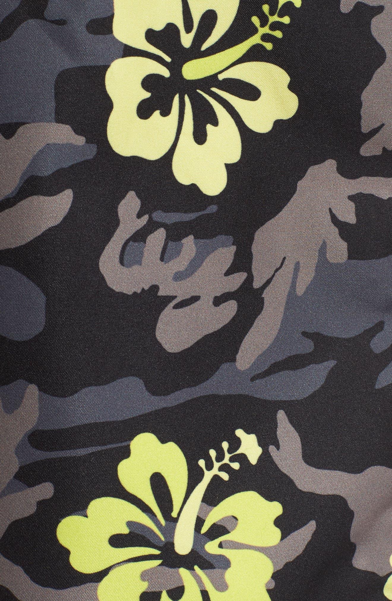 TRUNKS SURF & SWIM CO.,                             Sano Hibiscus Print Swim Trunks,                             Alternate thumbnail 5, color,                             BLACK
