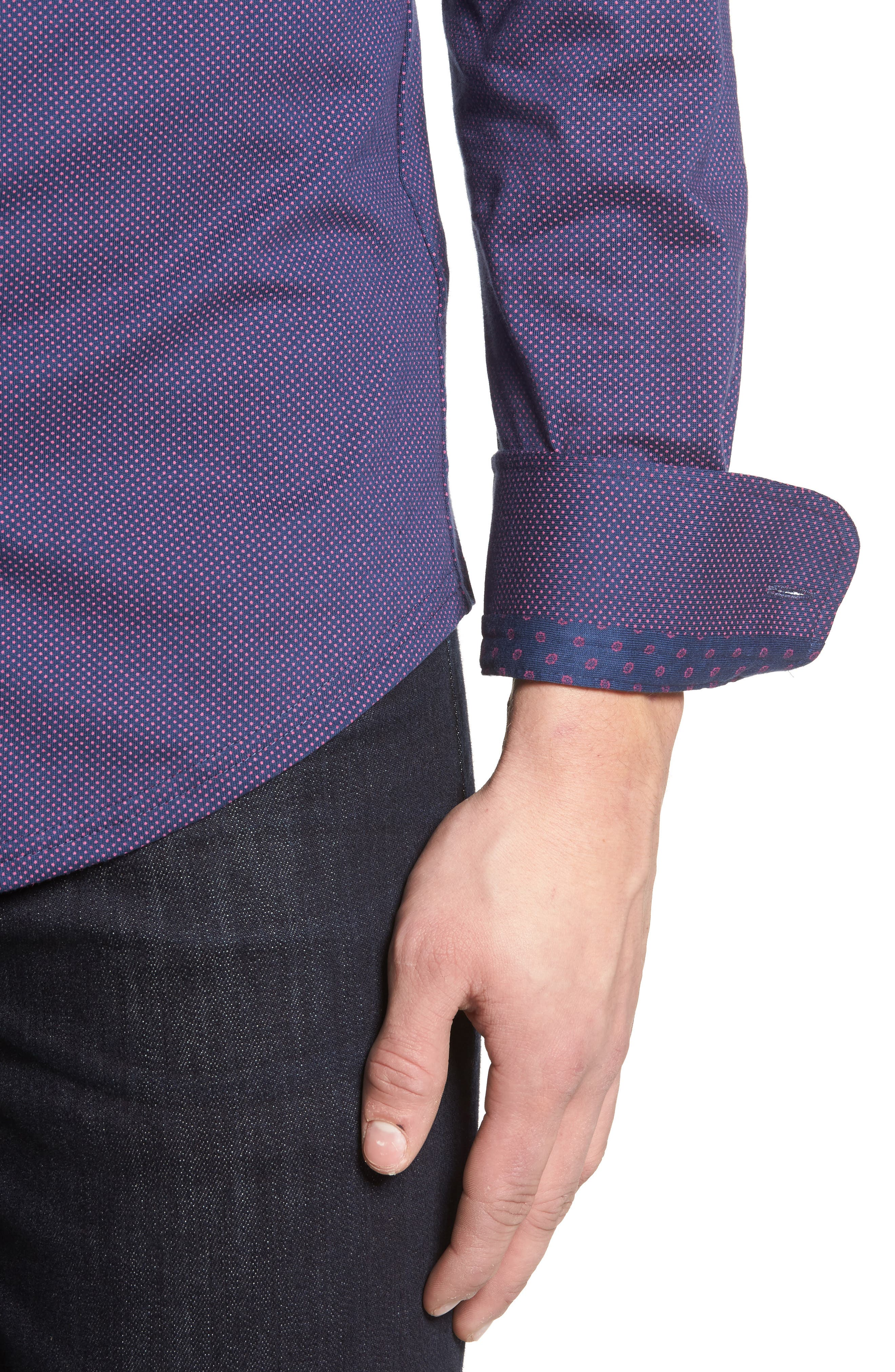 Slim Fit Micro Dot Knit Sport Shirt,                             Alternate thumbnail 4, color,                             001