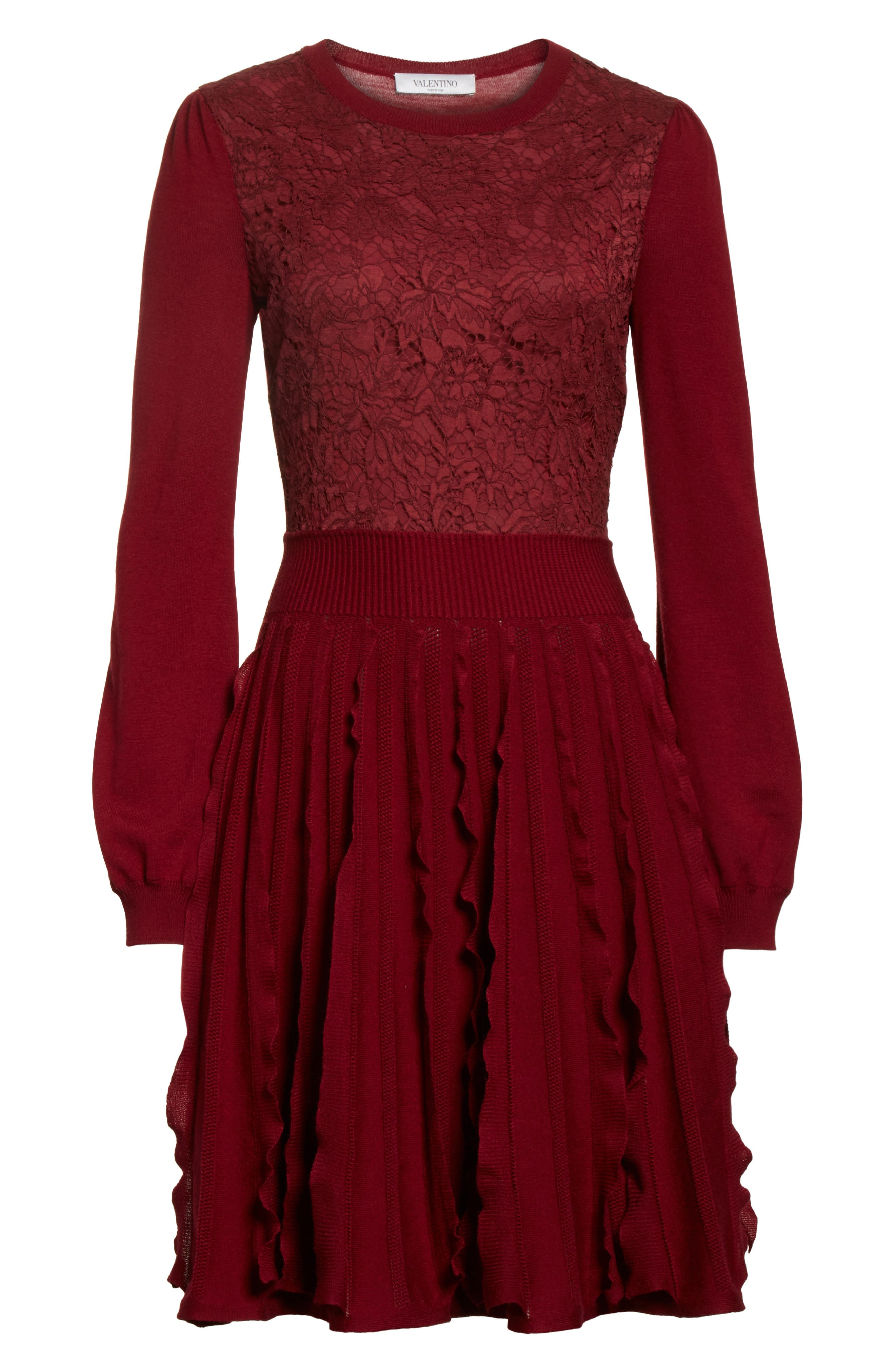 Guipure Lace & Wool Knit Dress,                             Alternate thumbnail 7, color,                             930