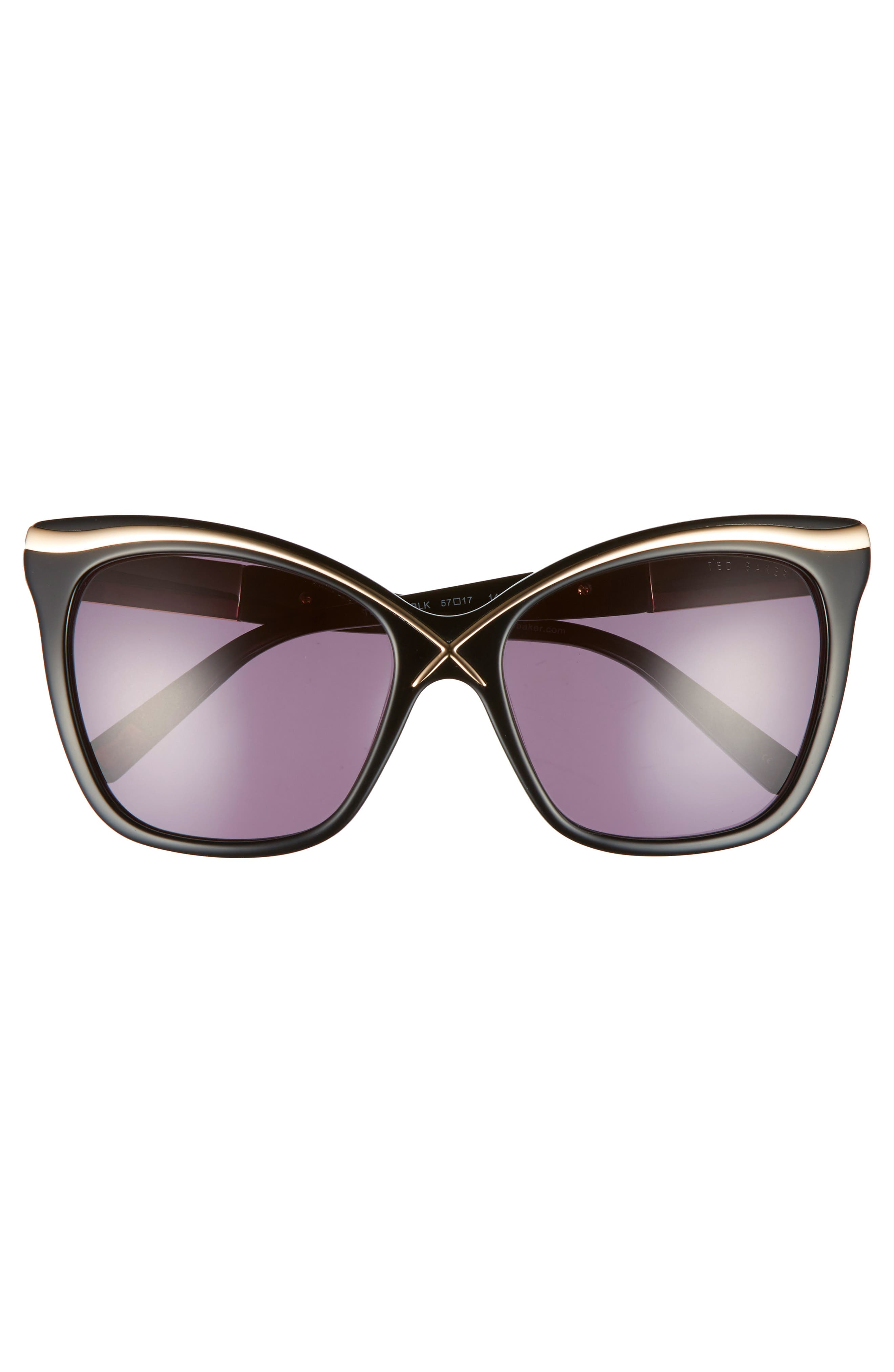 57mm Square Cat Eye Sunglasses,                             Alternate thumbnail 7, color,