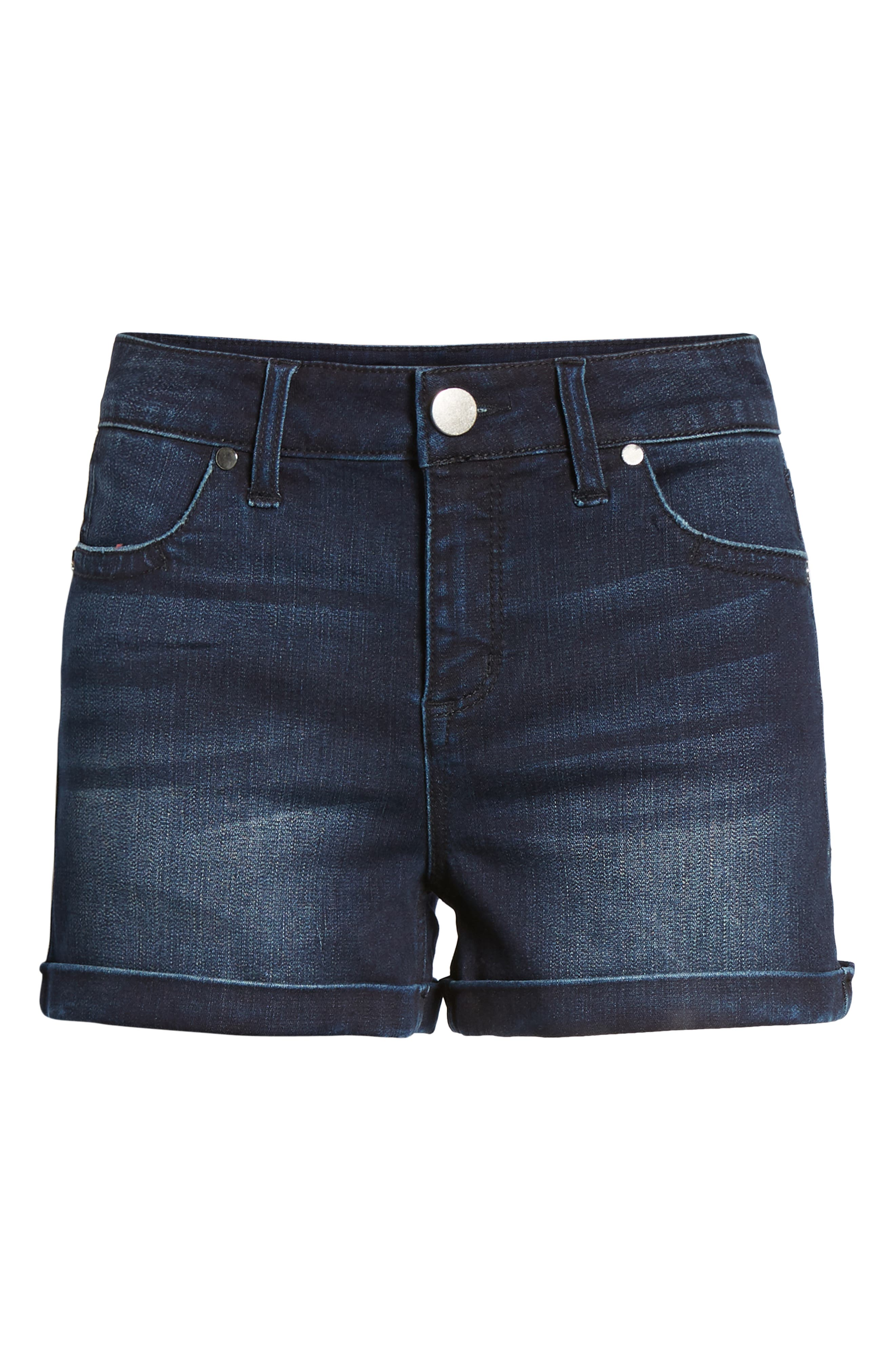 Cuffed Denim Shorts,                             Alternate thumbnail 7, color,                             404