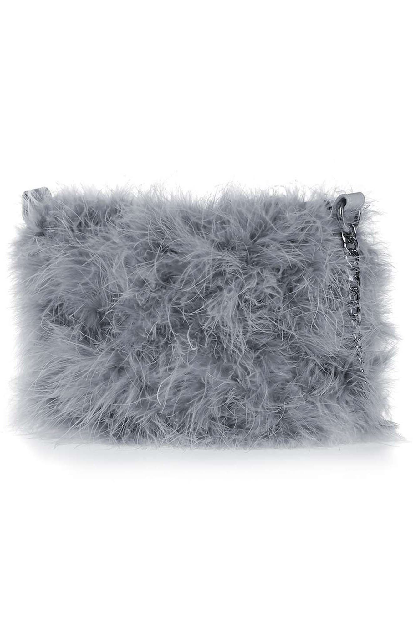 Faye Marabou Feather Bag, Main, color, 020