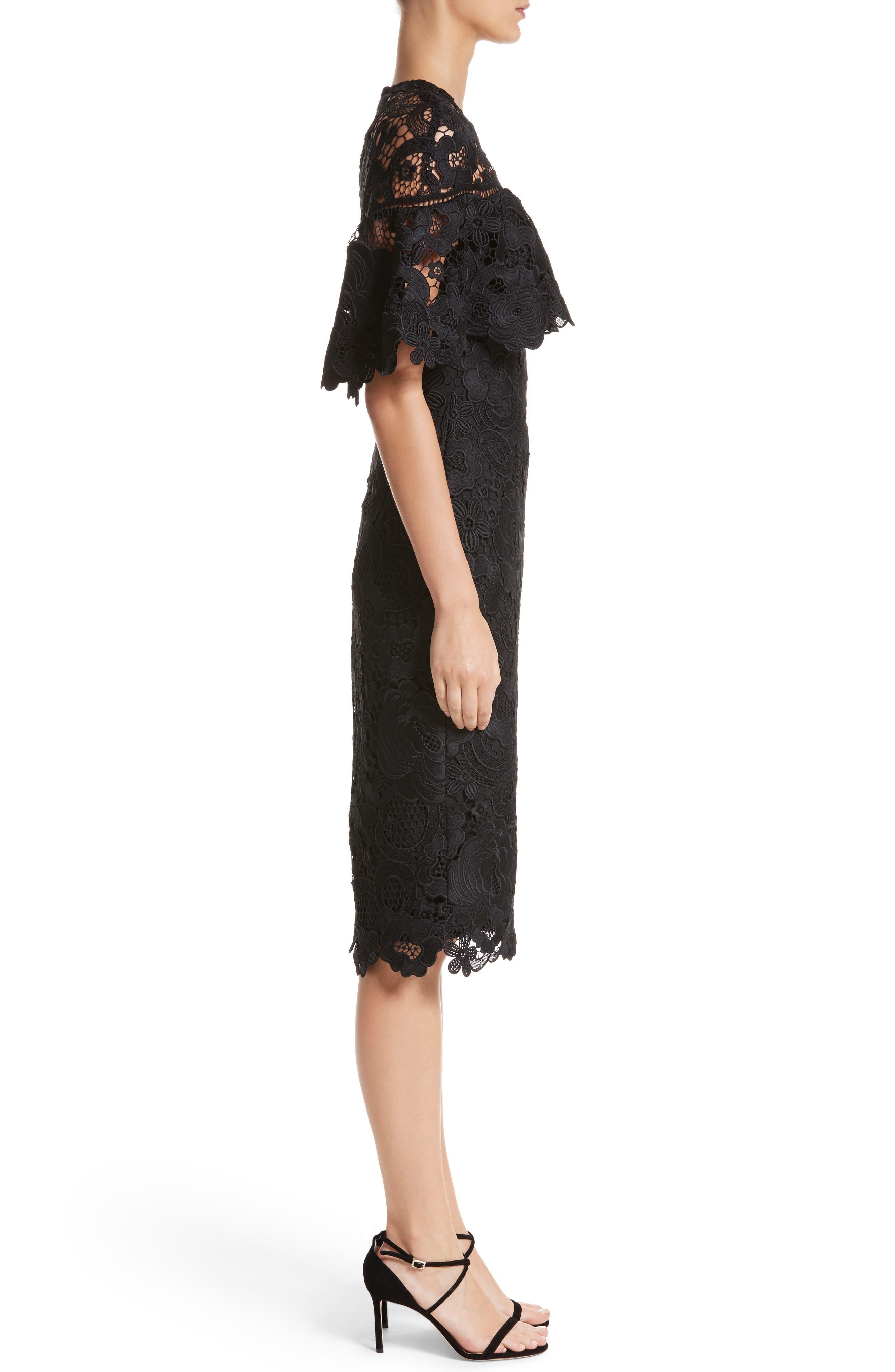 Lace Capelet Sheath Dress,                             Alternate thumbnail 3, color,                             001